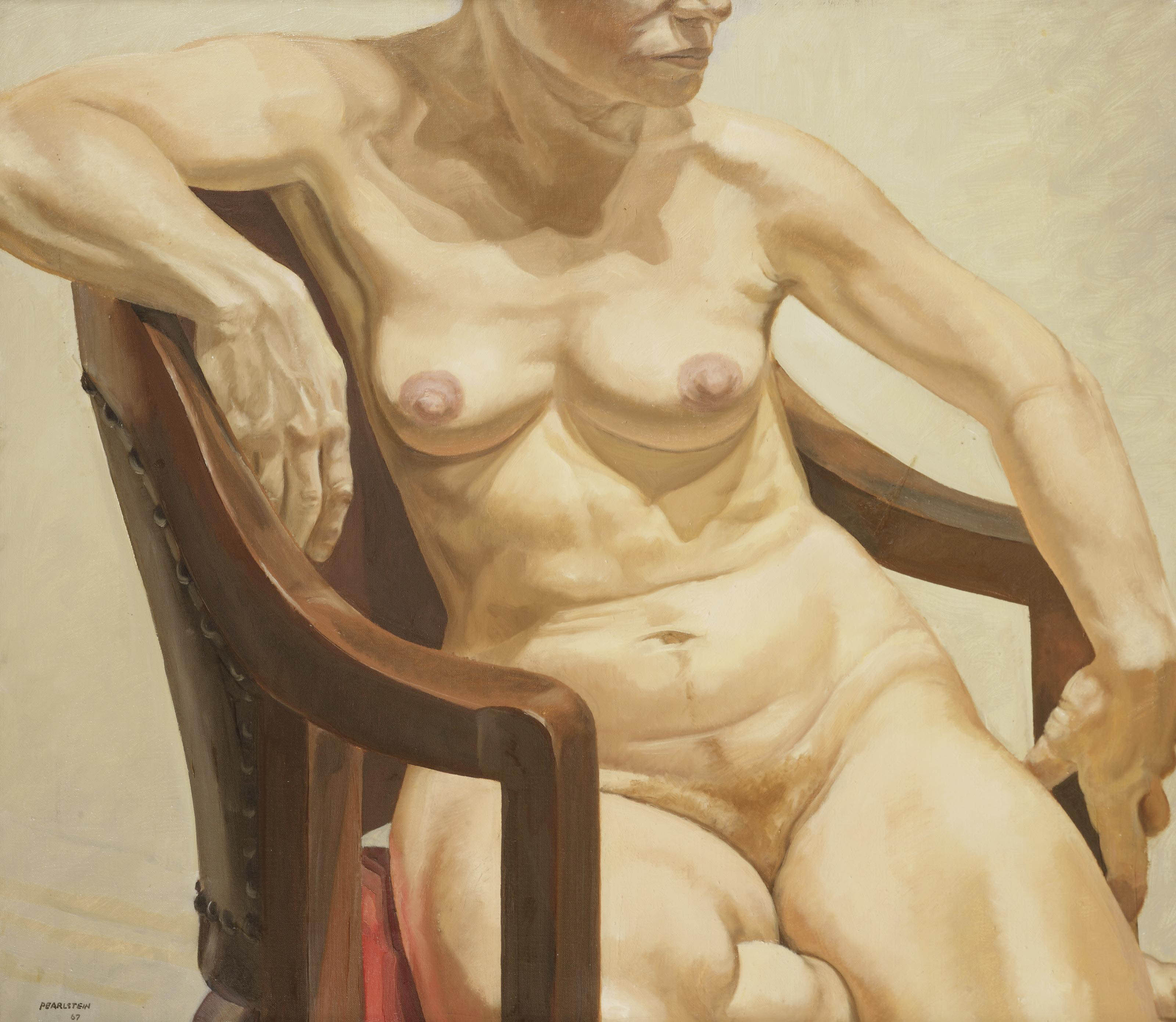 Model seated on chair