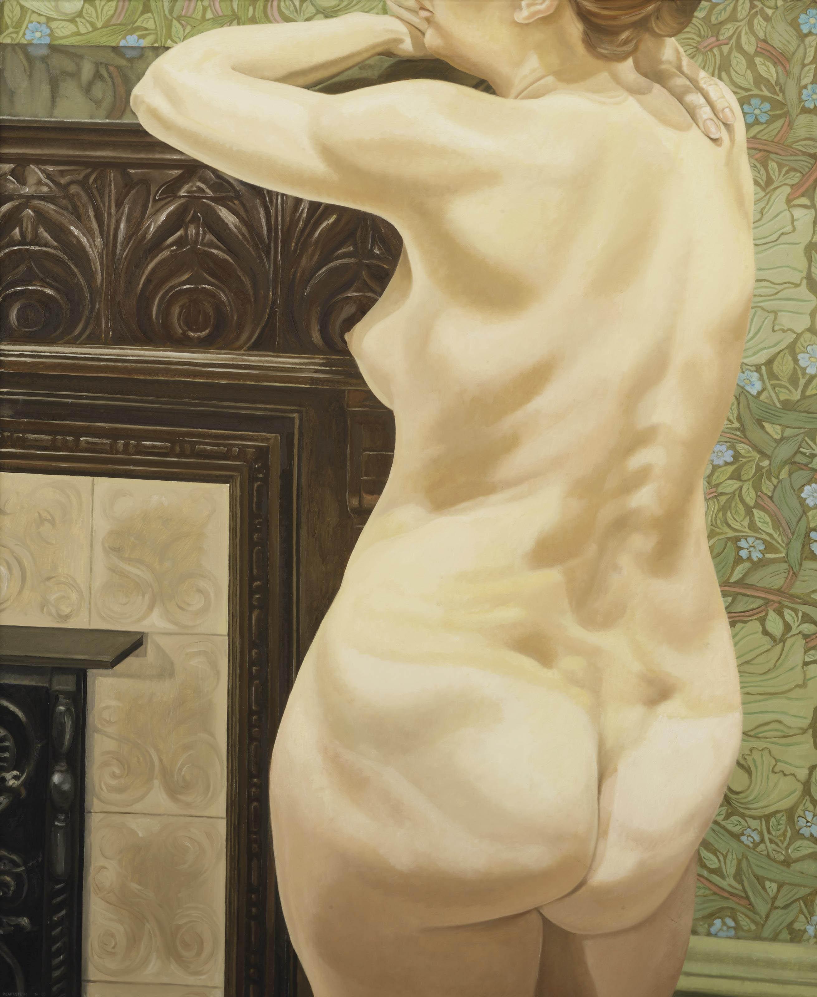 Female model leaning on mantel