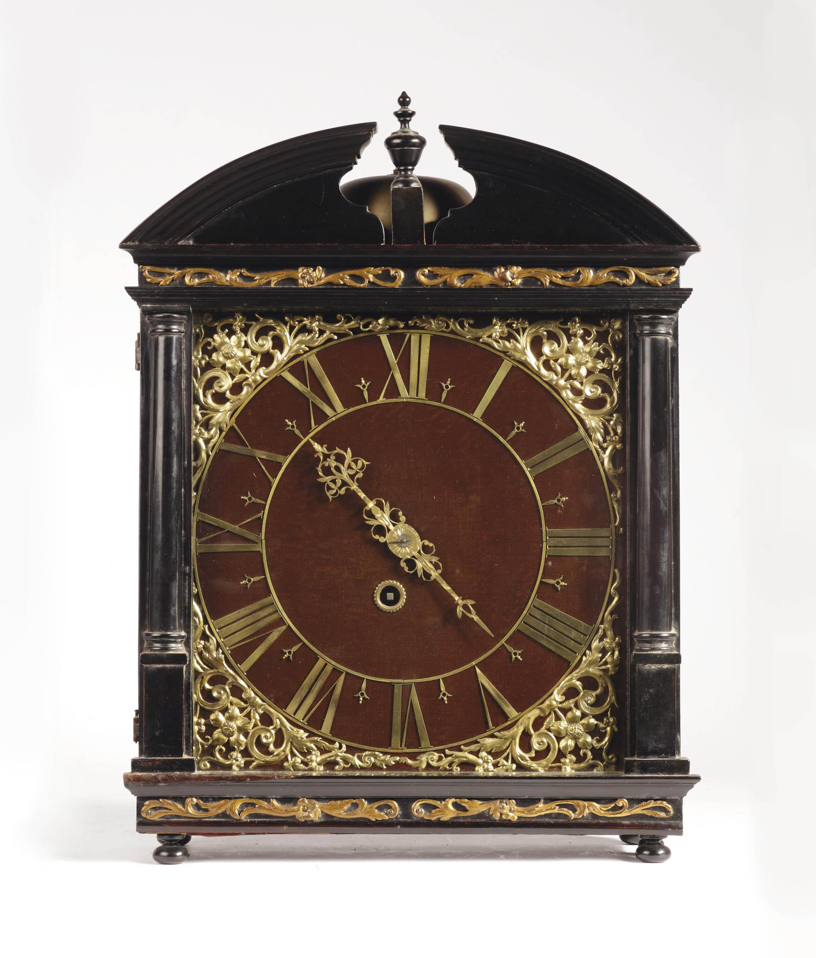 A Dutch ebonised and ebony striking 'Haagse' clock