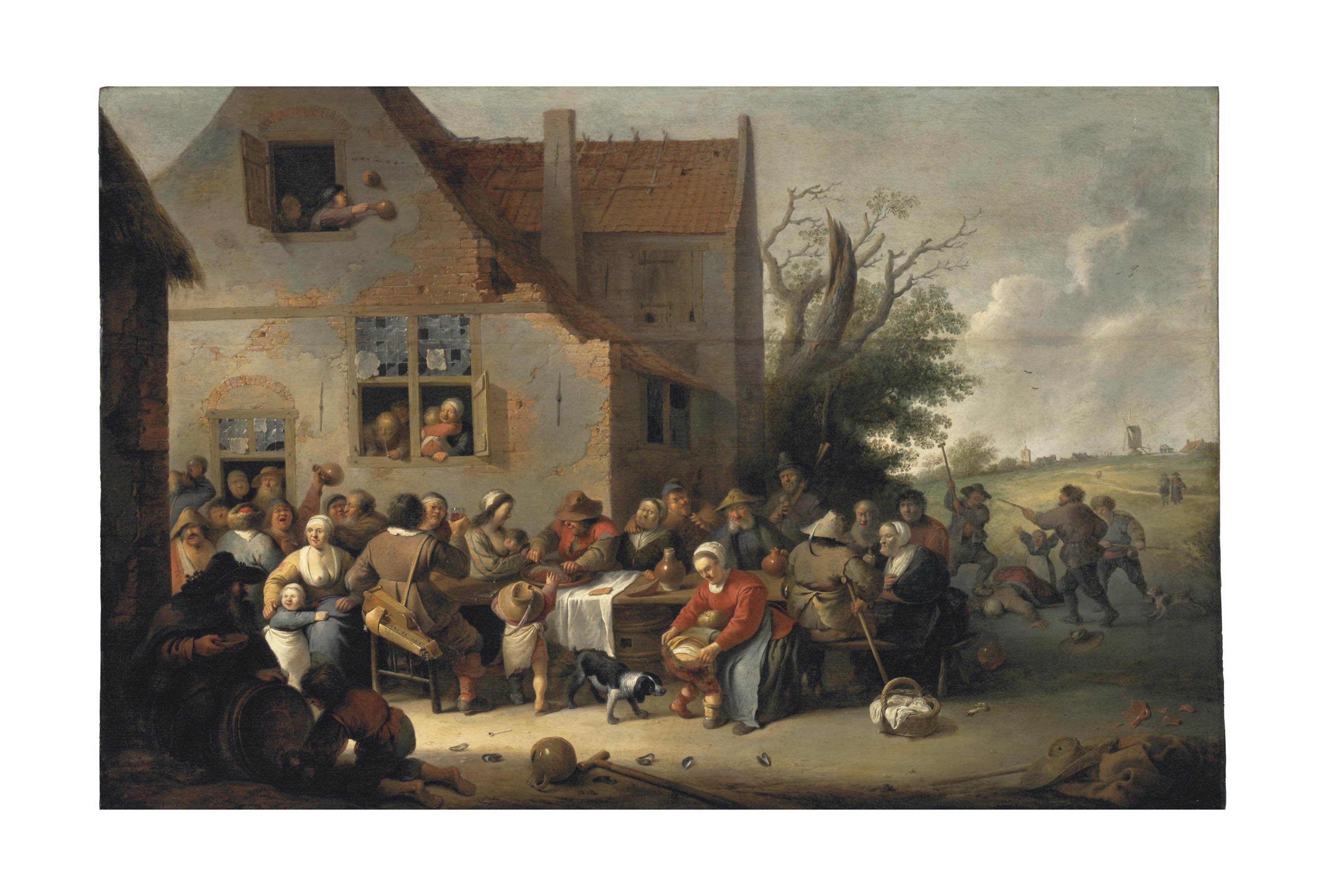Peasants making merry outside an inn