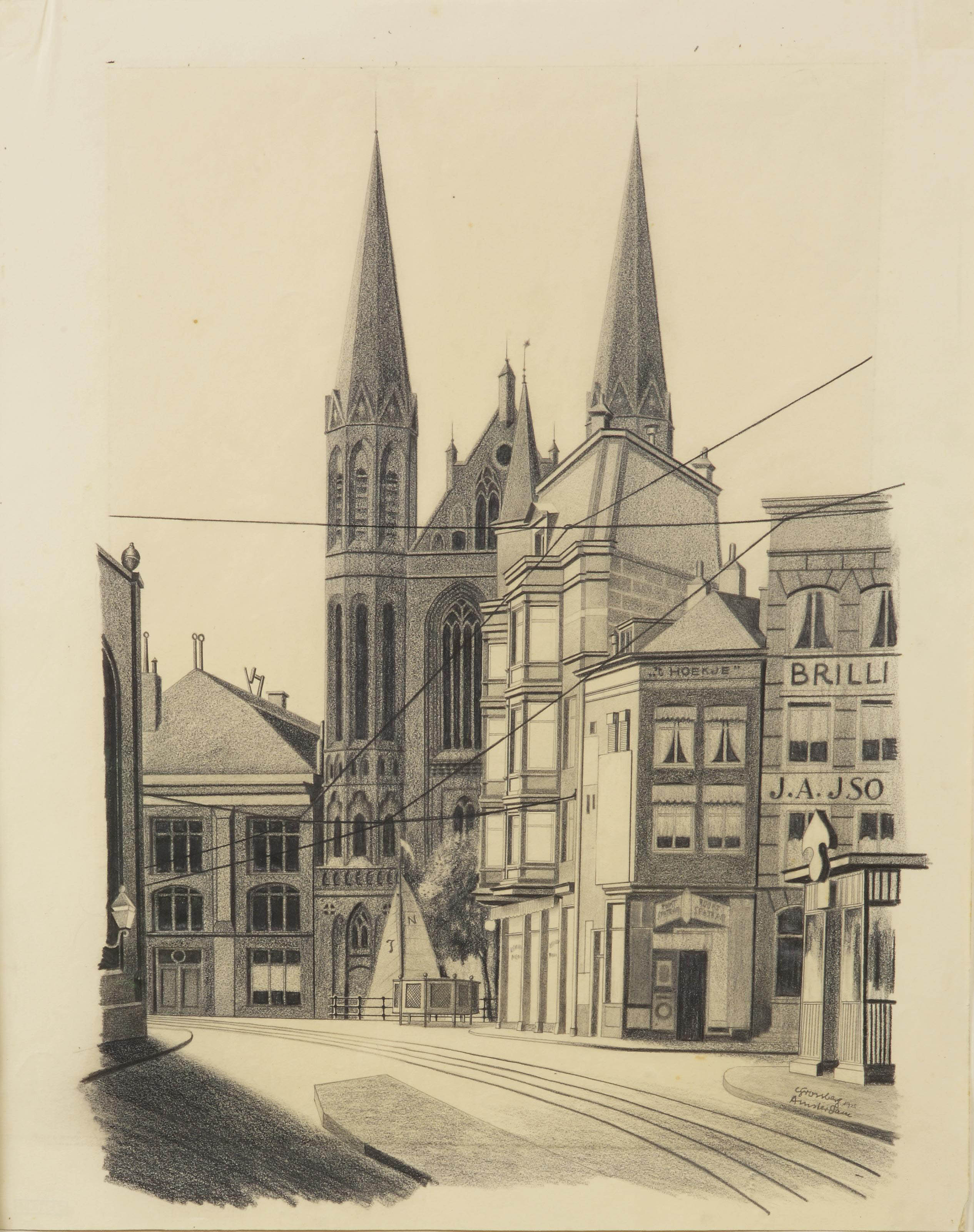 View of the Singel with the Krijtberg church, Amsterdam