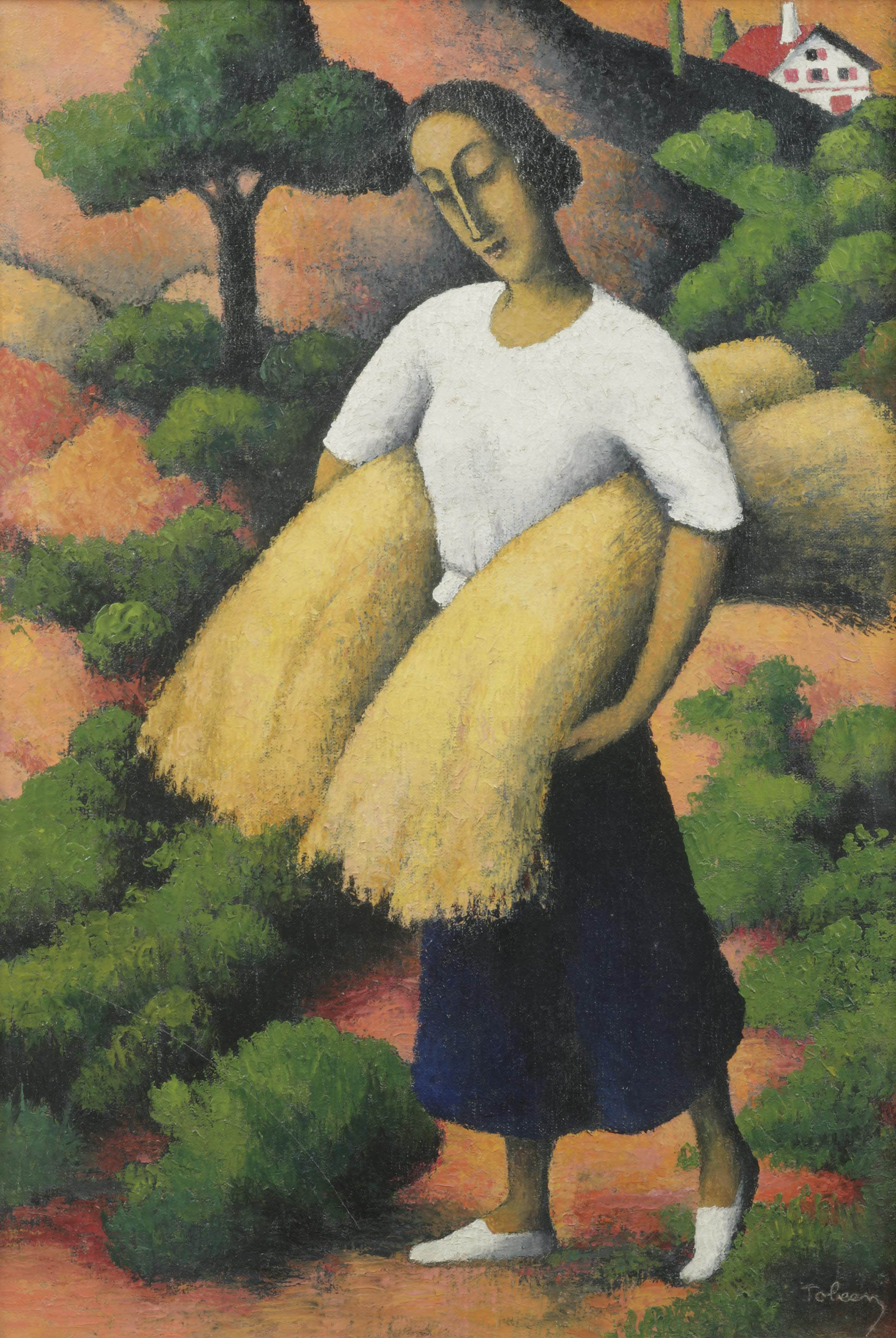 Paysanne à la récolte