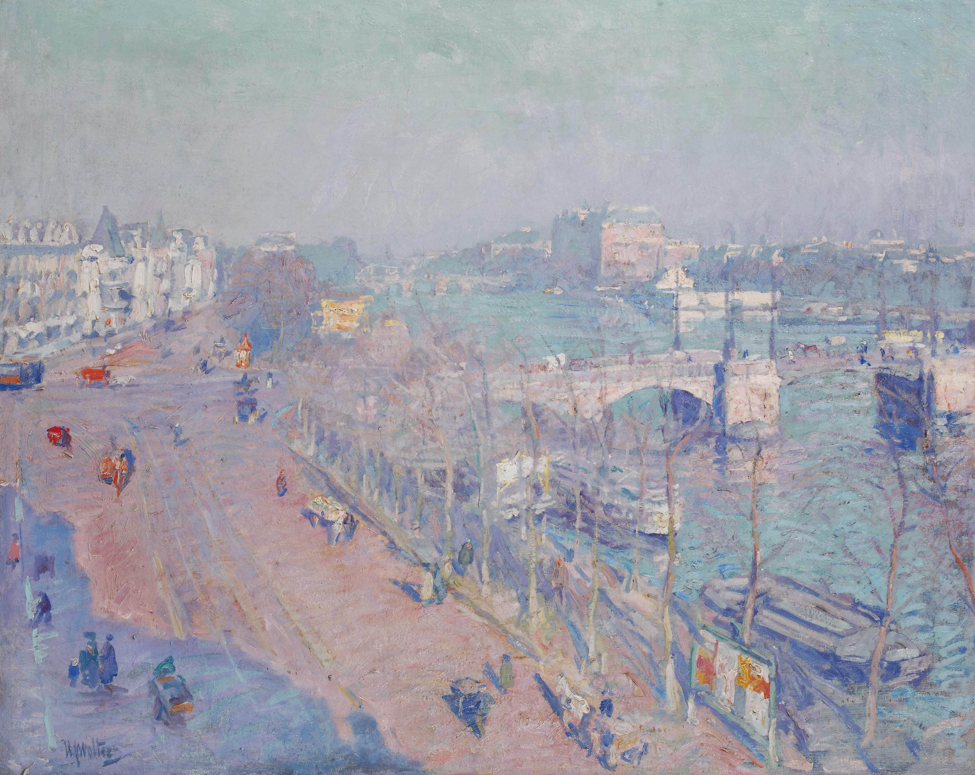 Early morning at the river Amstel seen from the artist's studio, Amsterdam