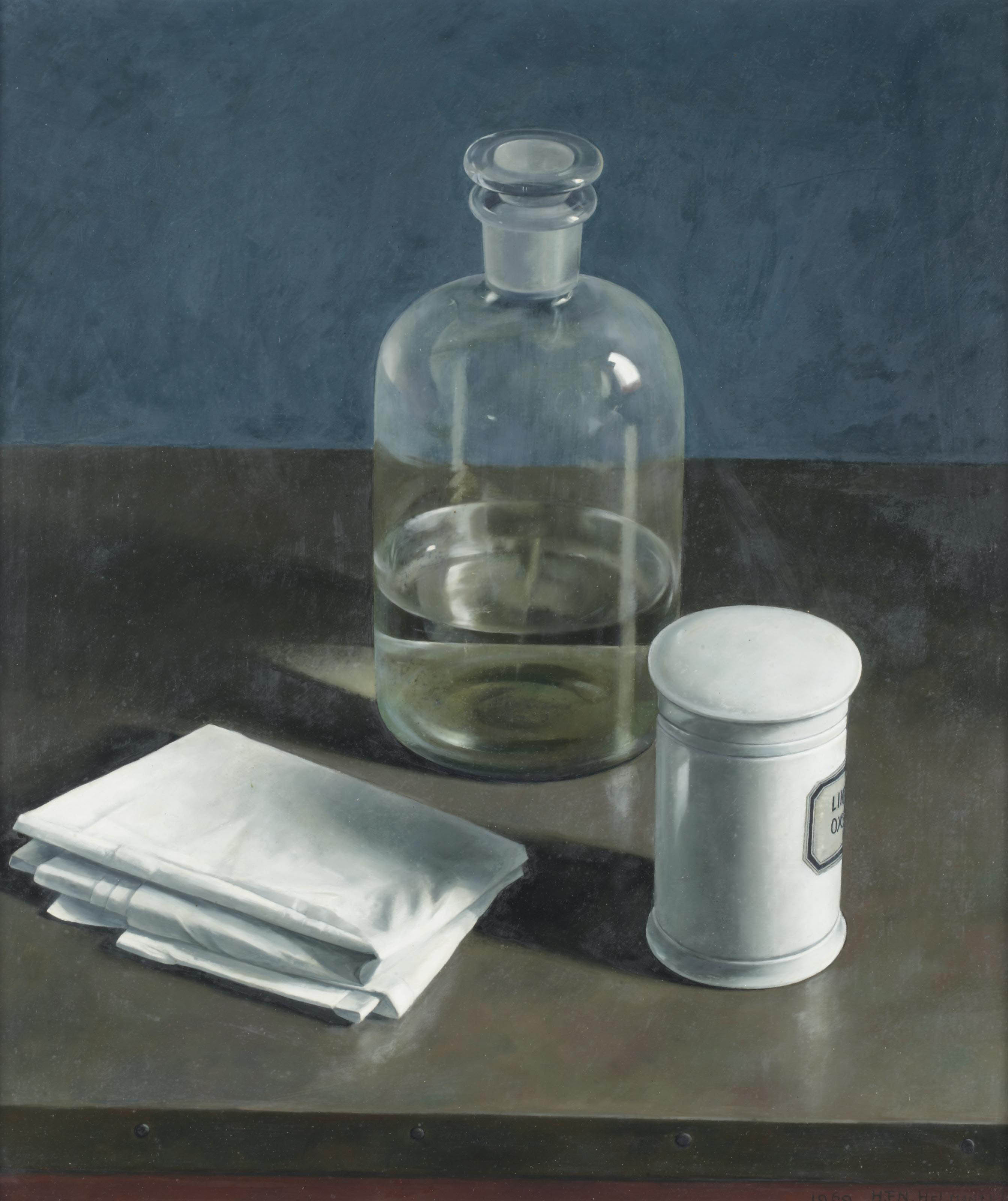 A still life with a bottle and a pharmacy jar