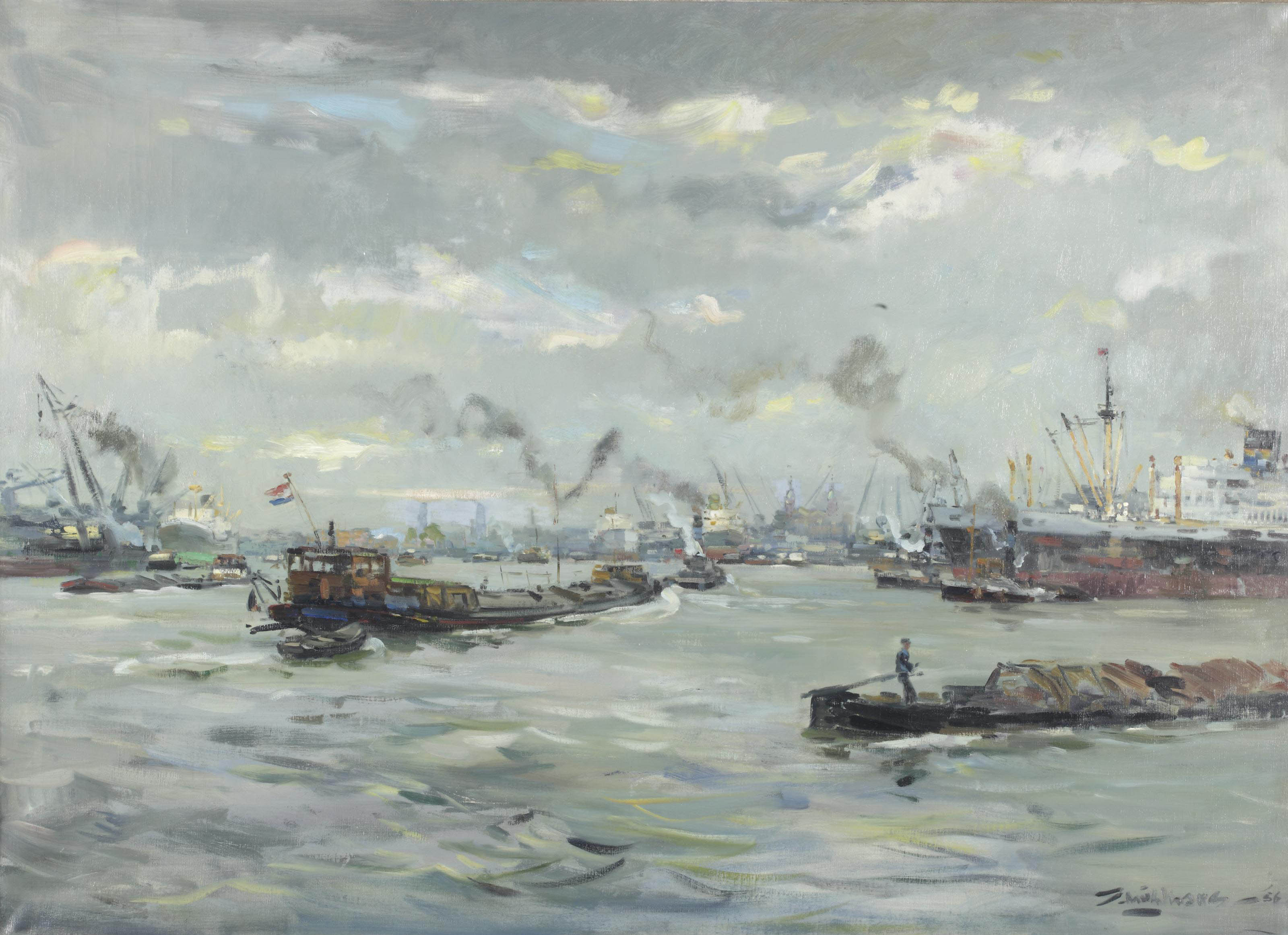 Shipping on the river Maas, Rotterdam
