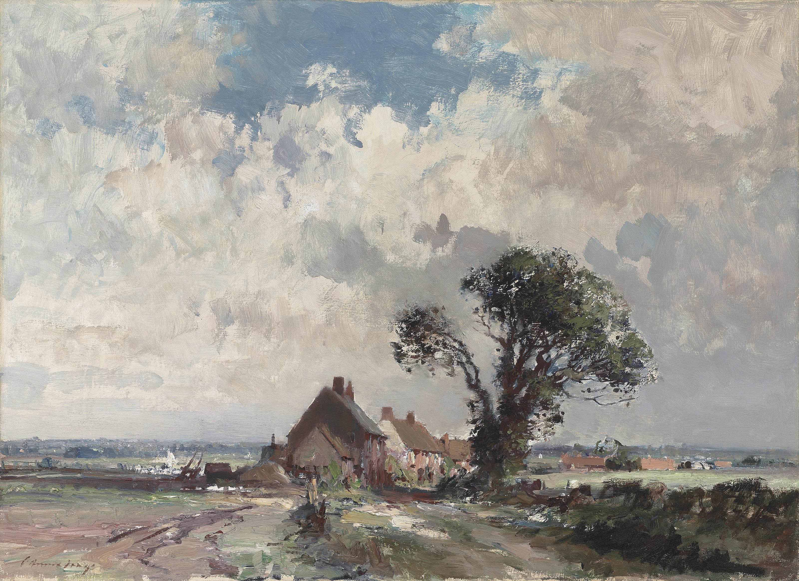 Cottages by the marsh, Norfolk
