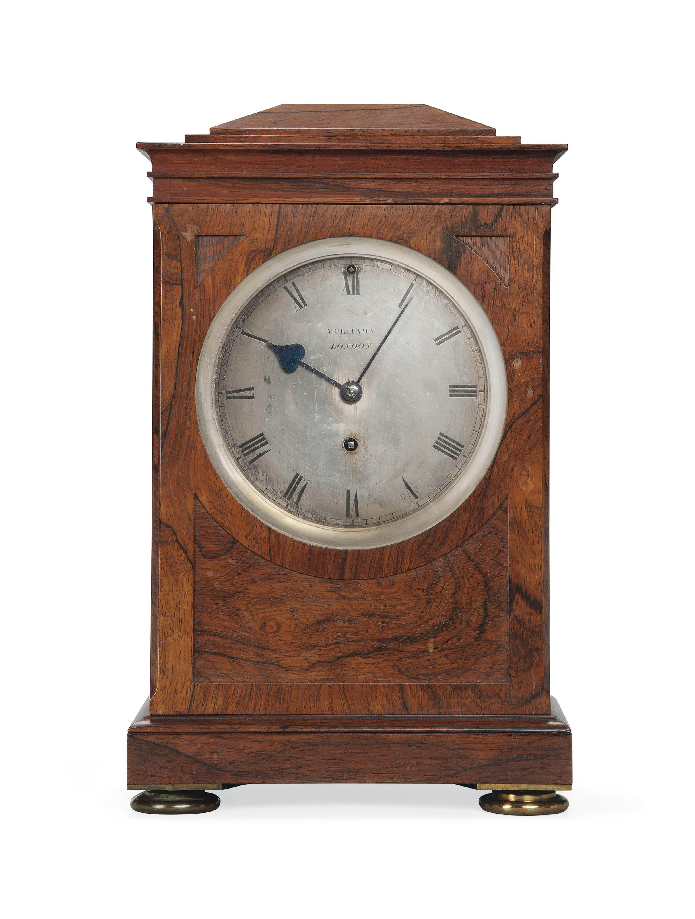 A GEORGE IV ROSEWOOD EIGHT-DAY LIBRARY TIMEPIECE MANTEL CLOCK