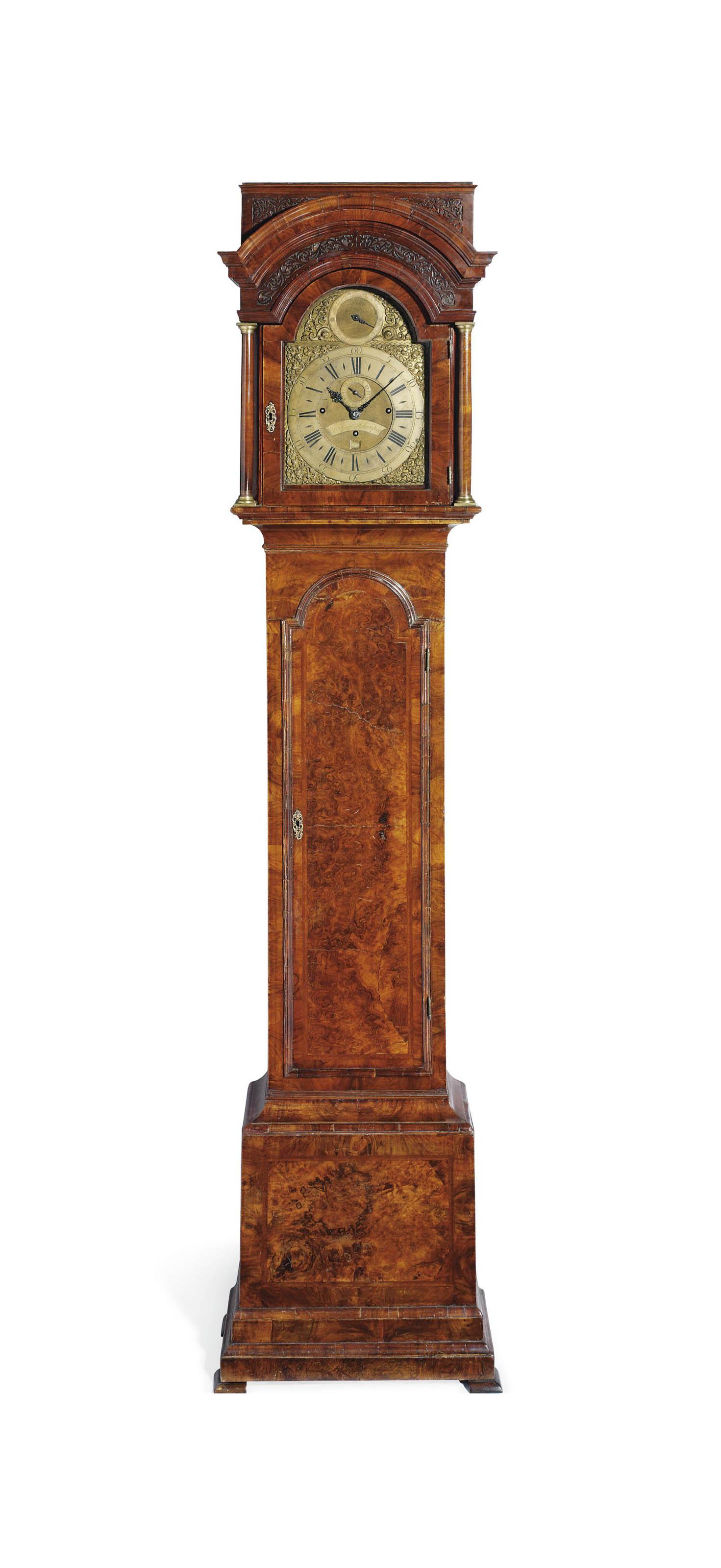 AN EARLY GEORGE II WALNUT THREE-TRAIN DUTCH STRIKING EIGHT-DAY LONGCASE CLOCK