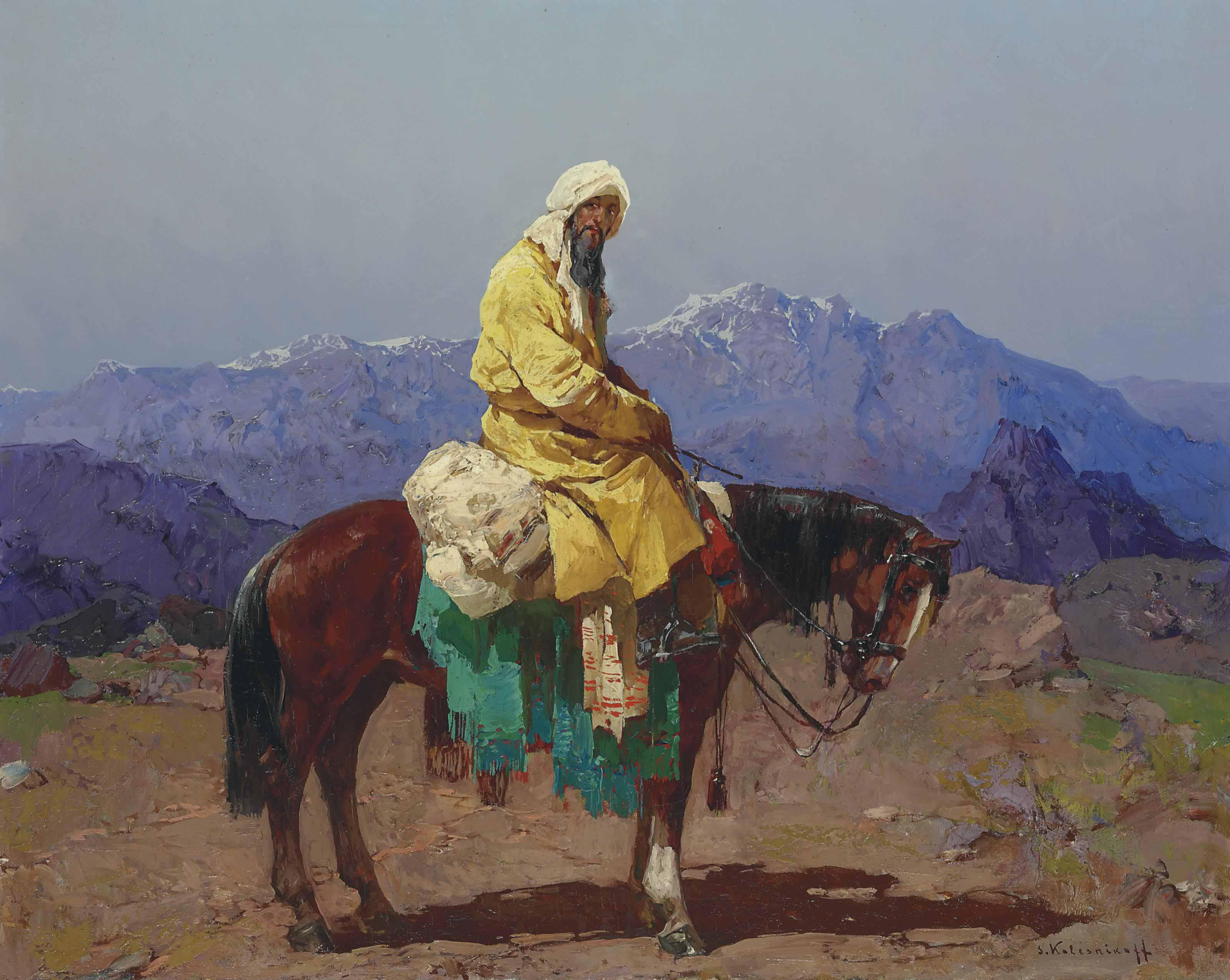 Horse and rider, Turkestan