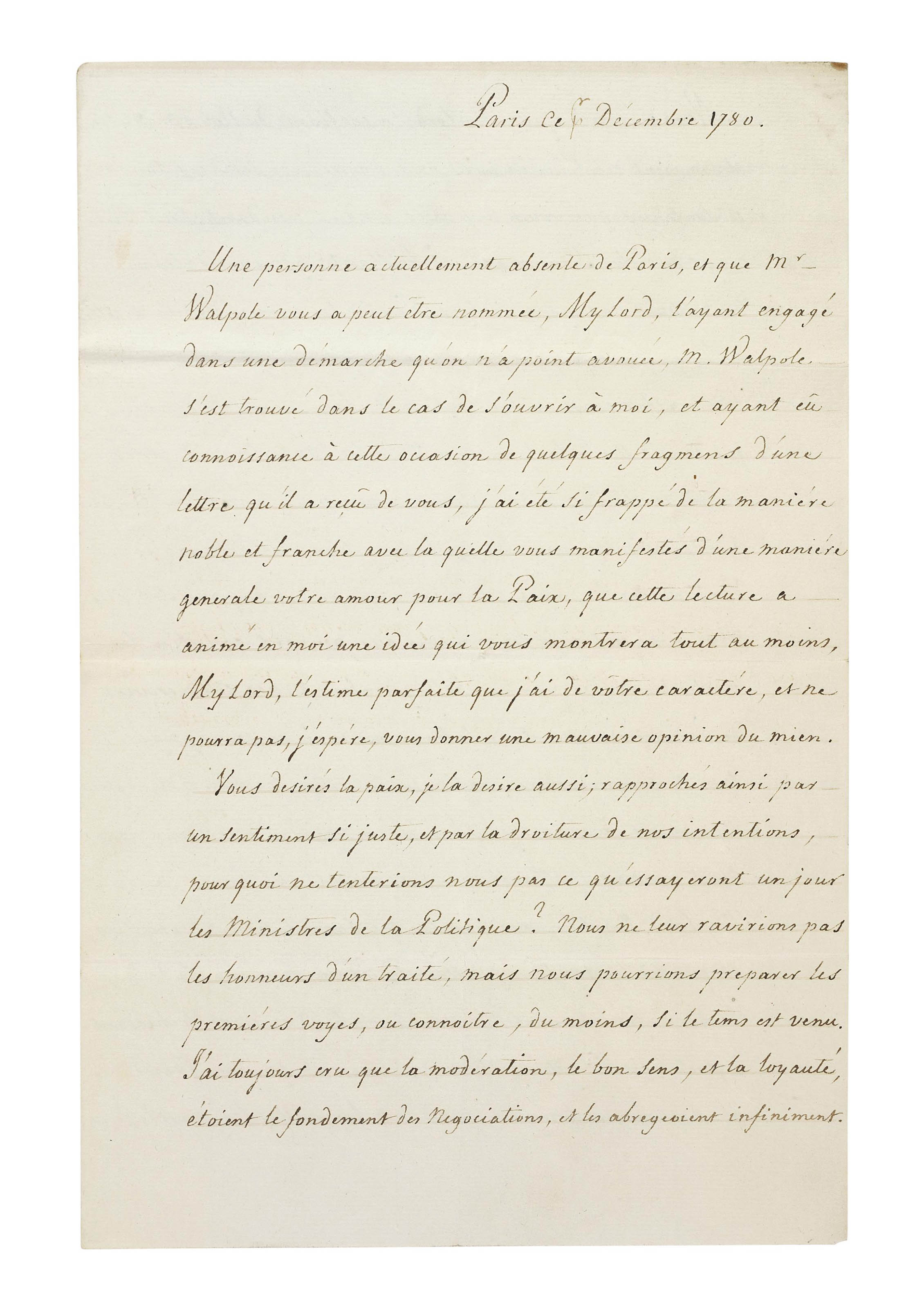 NECKER, Jacques (1732-1804). Letter signed ('Necker') to the British prime minister Frederick, Lord North [later 2nd Earl of Guilford], Paris, 1 December 1780, in French, autograph postscript, 4 pages, folio, bifolium.