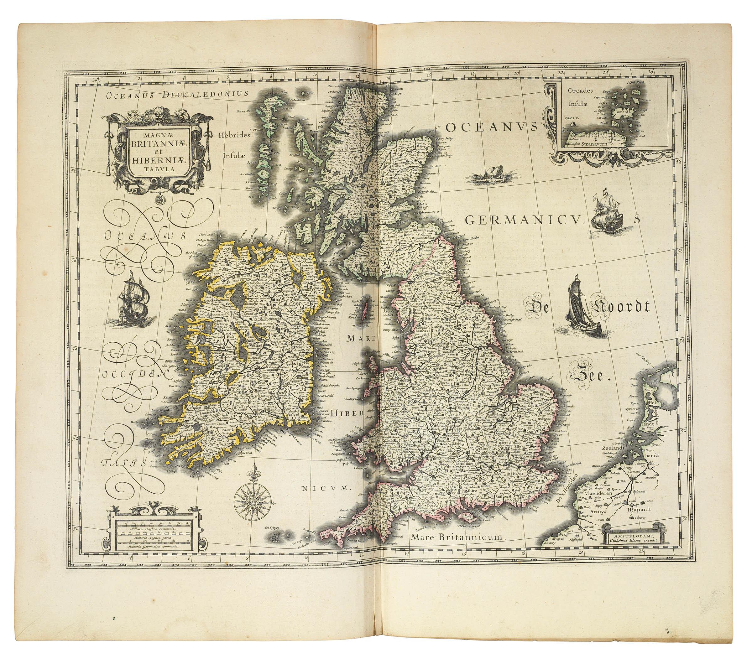BLAEU, Willem (1571-1638) and Johannes BLAEU (1596-1673). Le Theatre du Monde ou Nouvel Atlas ... troisieme partie. [Volume III. Italy, Greece and the British Isles]. Amsterdam: Johannes and Cornelius Blaeu, 1640.