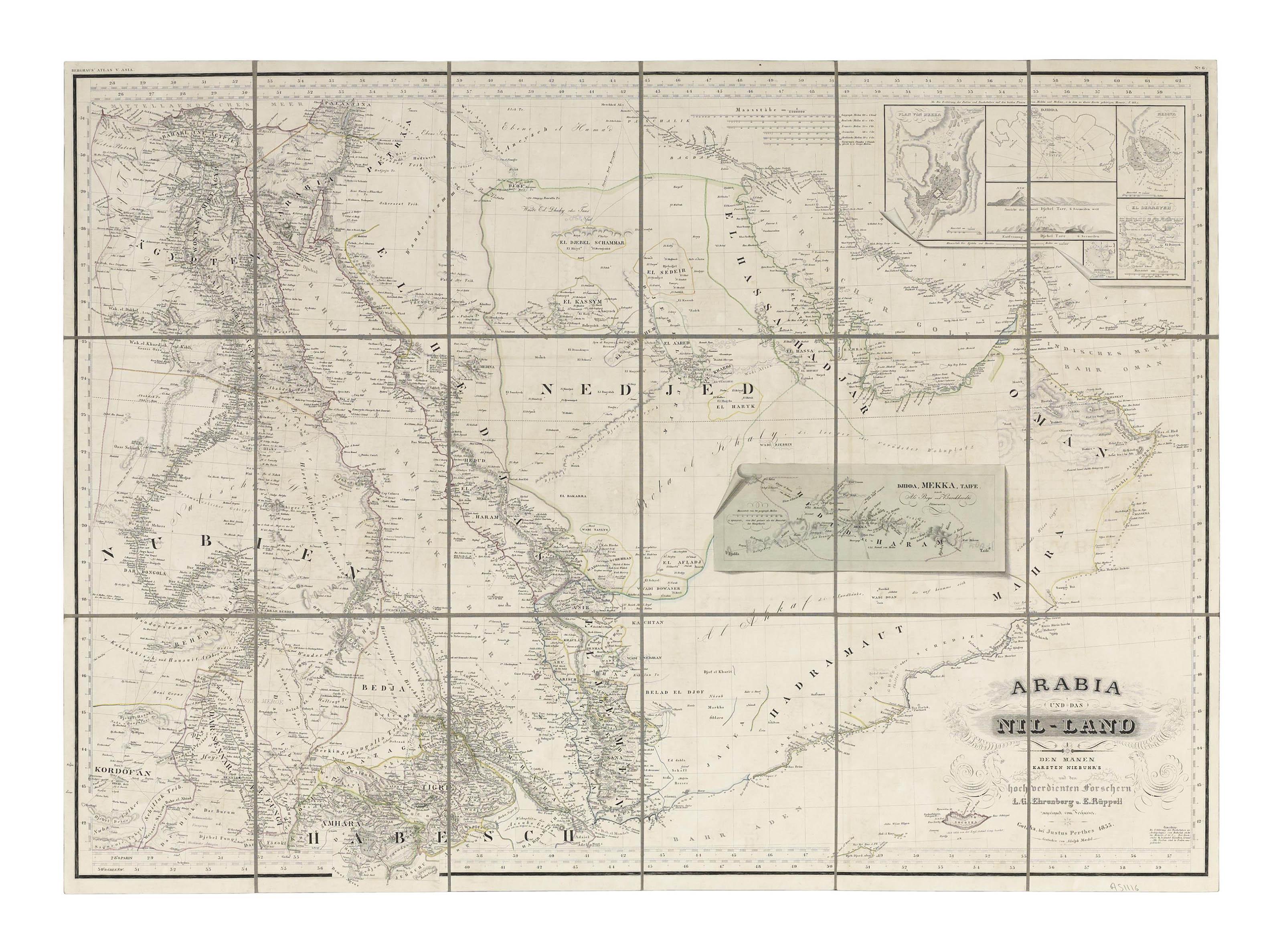 EHRENBERG, L.G. and RÜPPELL, Eduard (1794-1884). Arabia und das Nil-Land. Gotha: Justus Perthes, 1835.