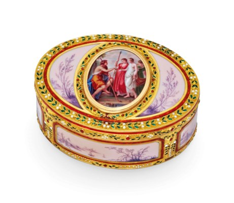 a german enamelled gold snuff box with the hanau town mark circa 1790 1795 also with. Black Bedroom Furniture Sets. Home Design Ideas