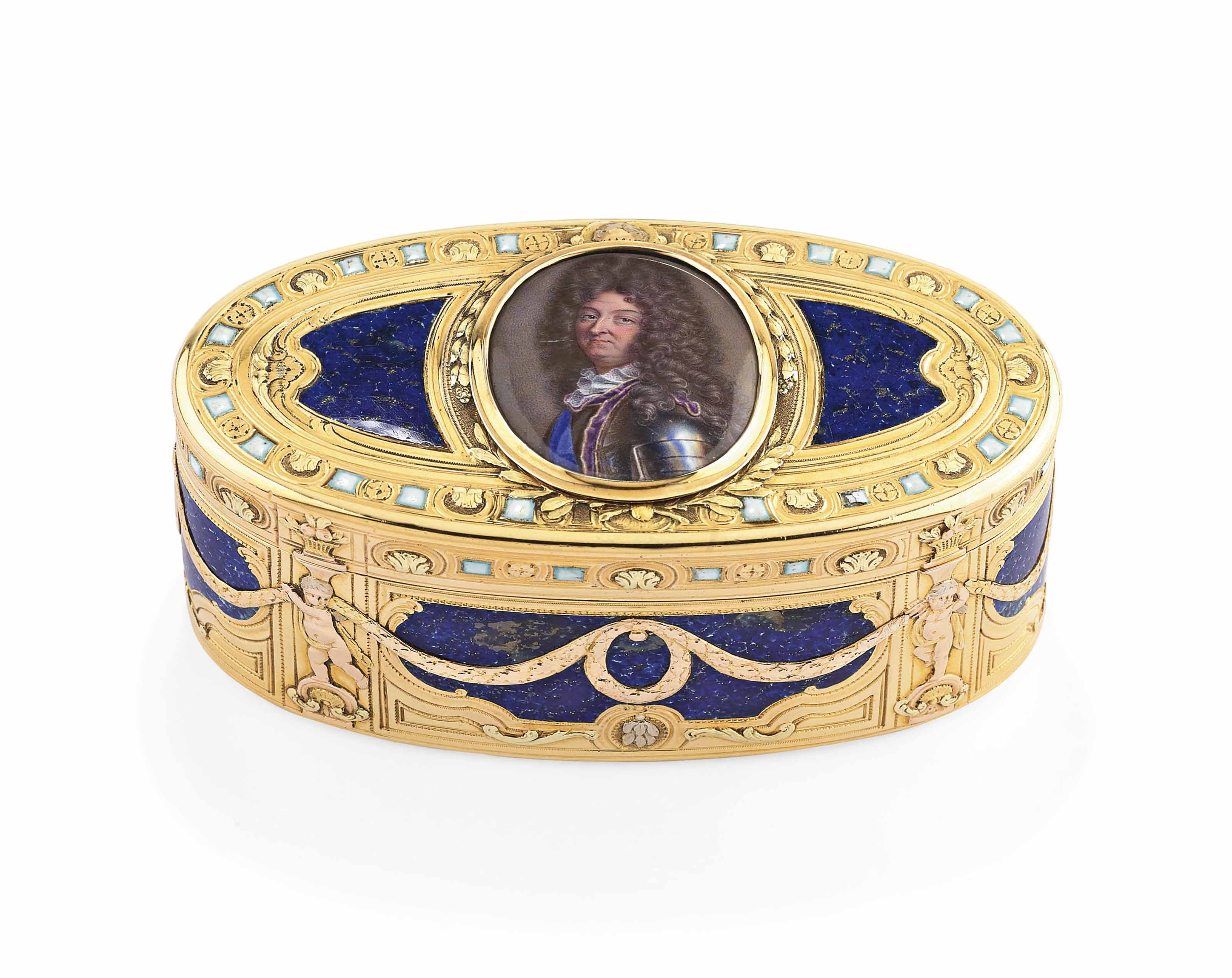 A LOUIS XV ENAMELLED VARI-COLOUR GOLD SNUFF-BOX SET WITH A MINIATURE
