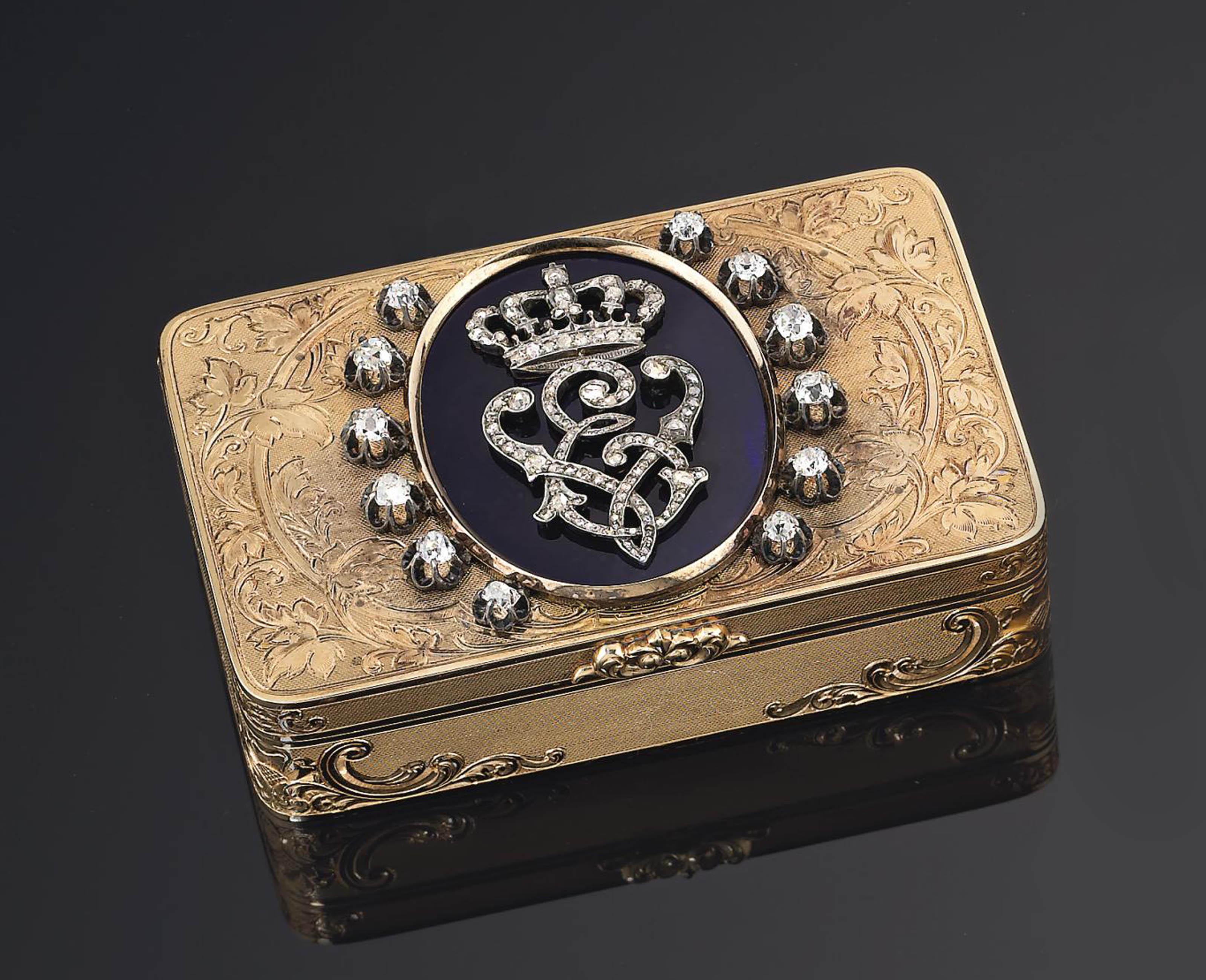 A ITALIAN ROYAL JEWELLED ENAMELLED GOLD PRESENTATION SNUFF-BOX