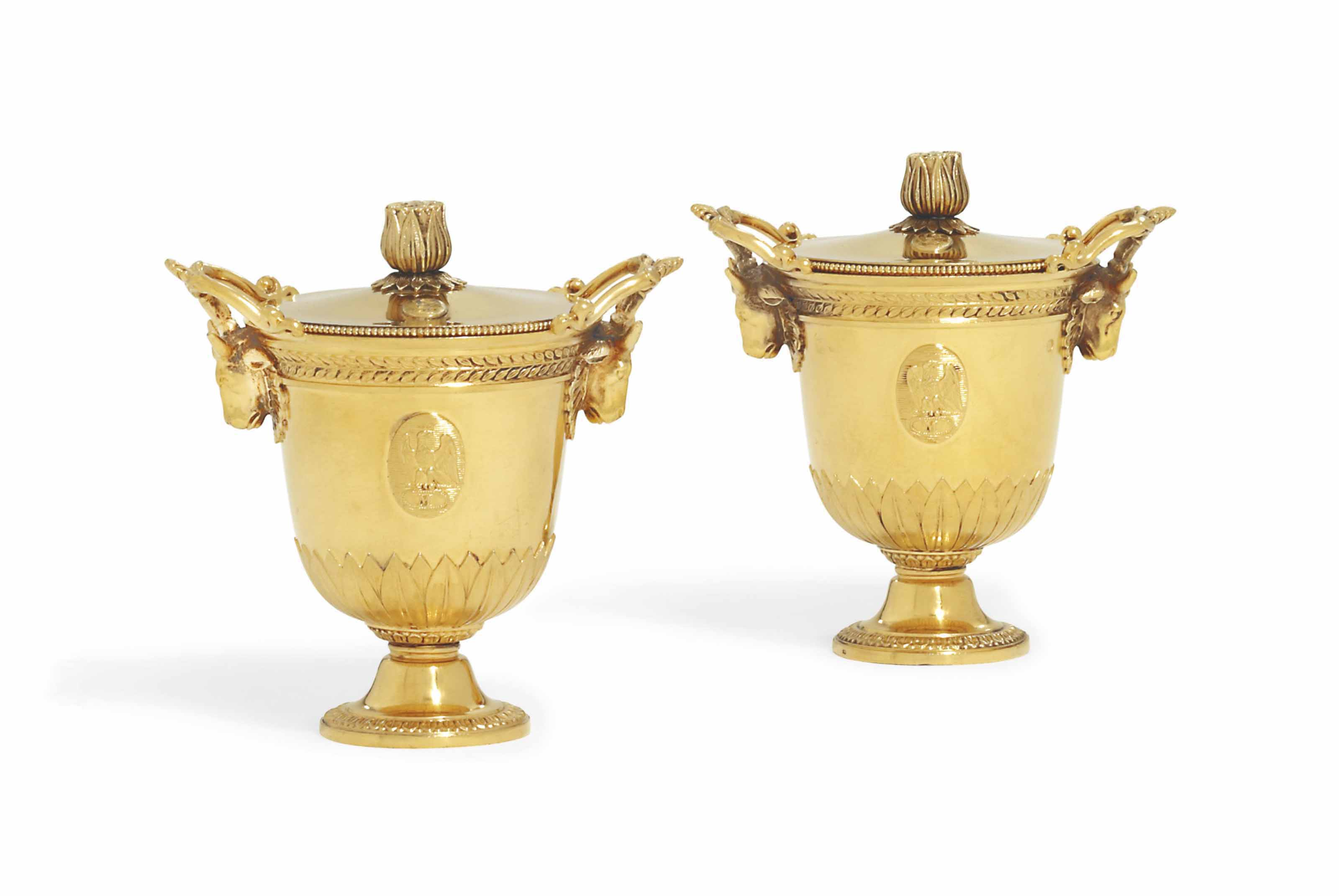 A PAIR OF FRENCH EMPIRE SILVER-GILT POT-A-CREME FROM THE MADAME MERE SERVICE