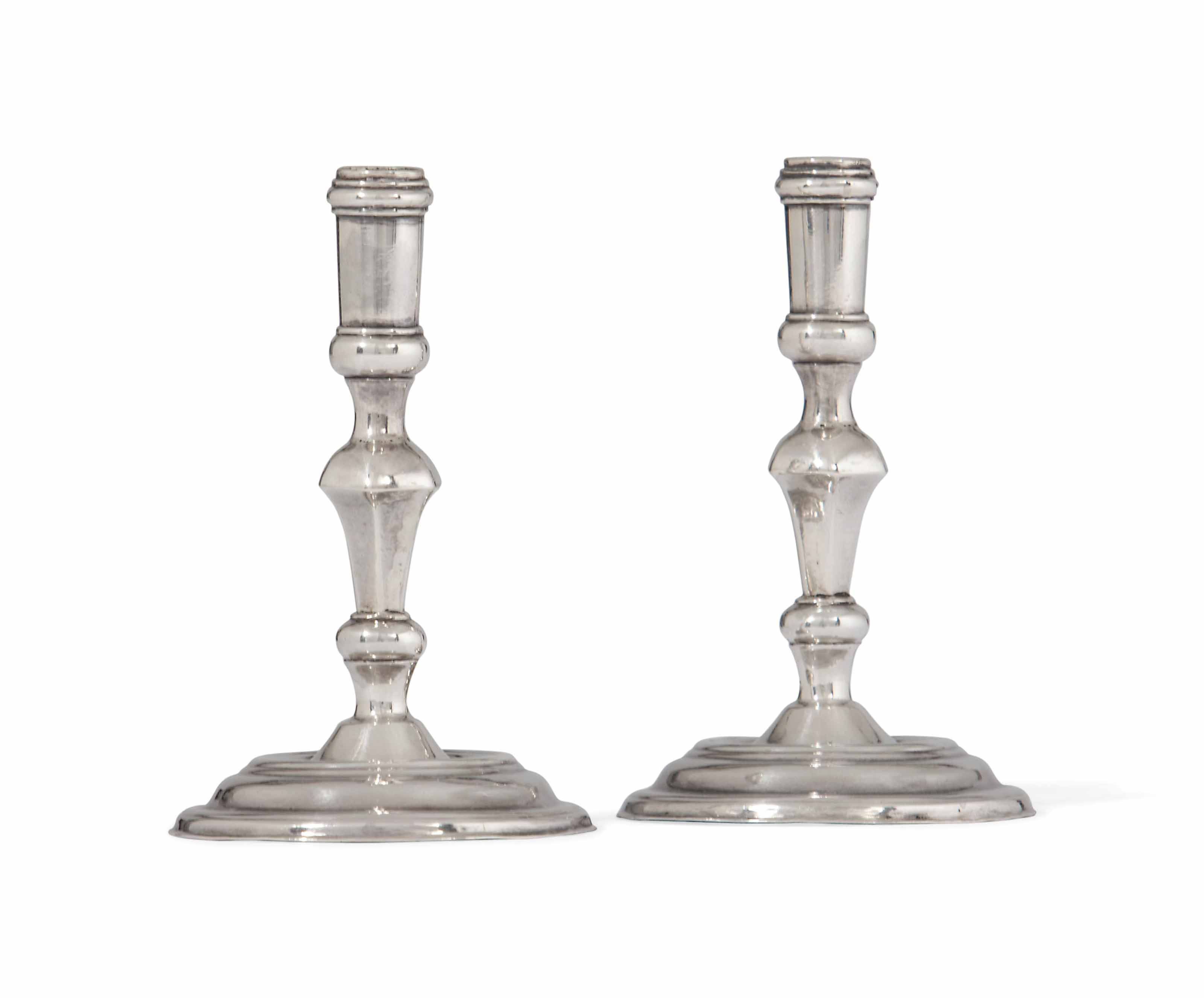A PAIR OF GEORGE II SILVER TOY MINIATURE CANDLESTICKS