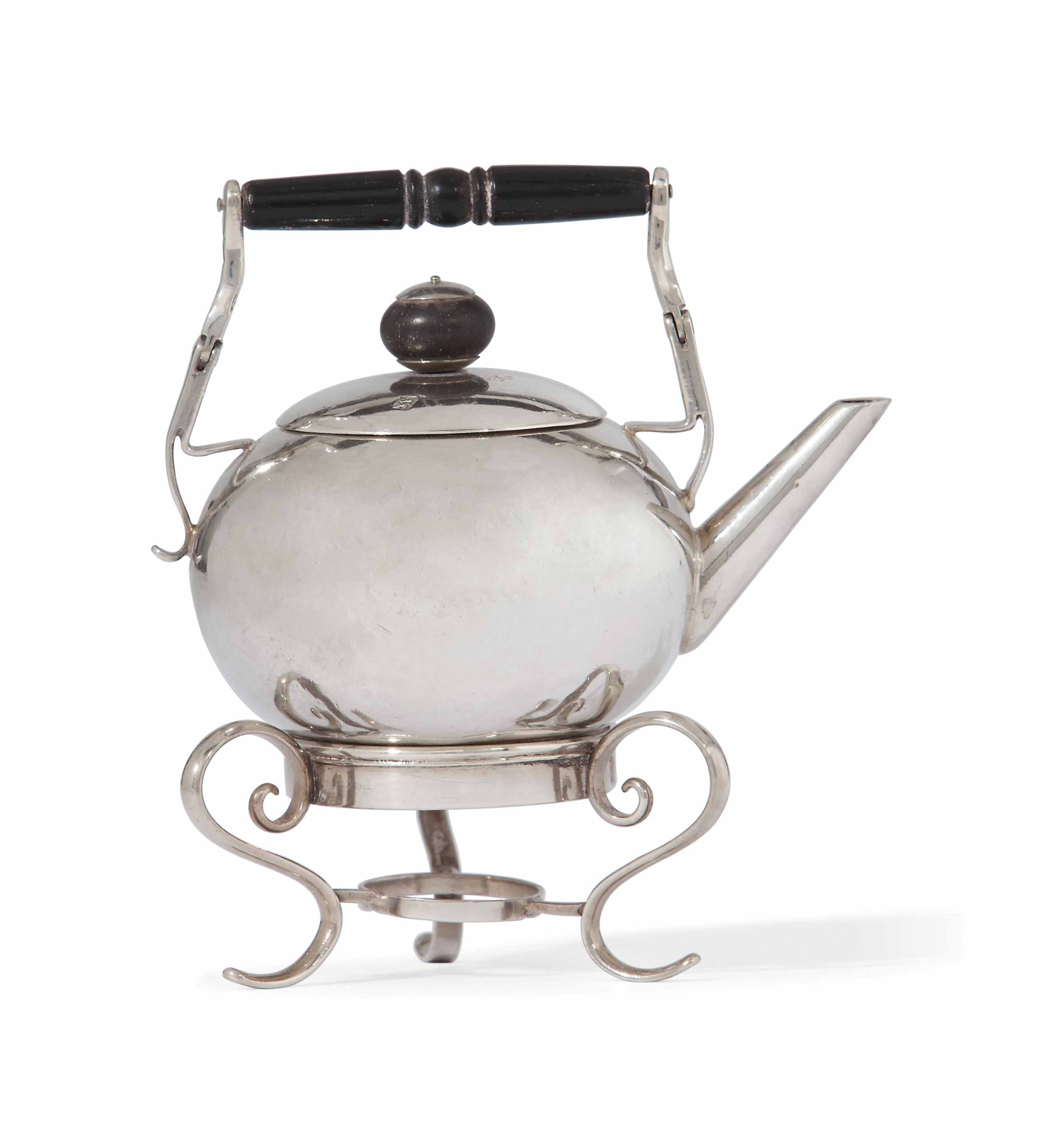 A GEORGE II SILVER TOY MINIATURE KETTLE AND STAND