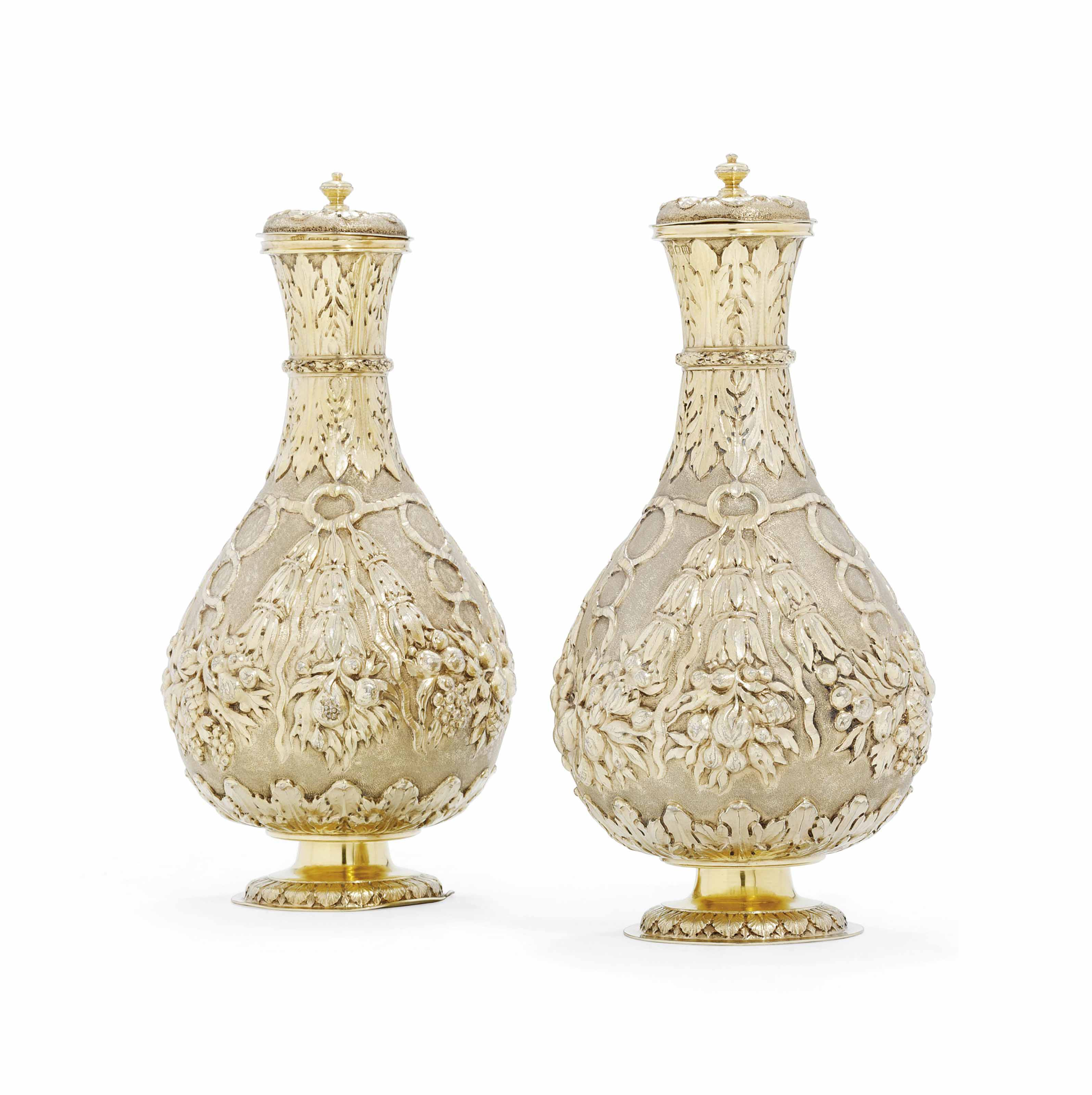 A PAIR OF GEORGE V SILVER-GILT FURNISHING VASES