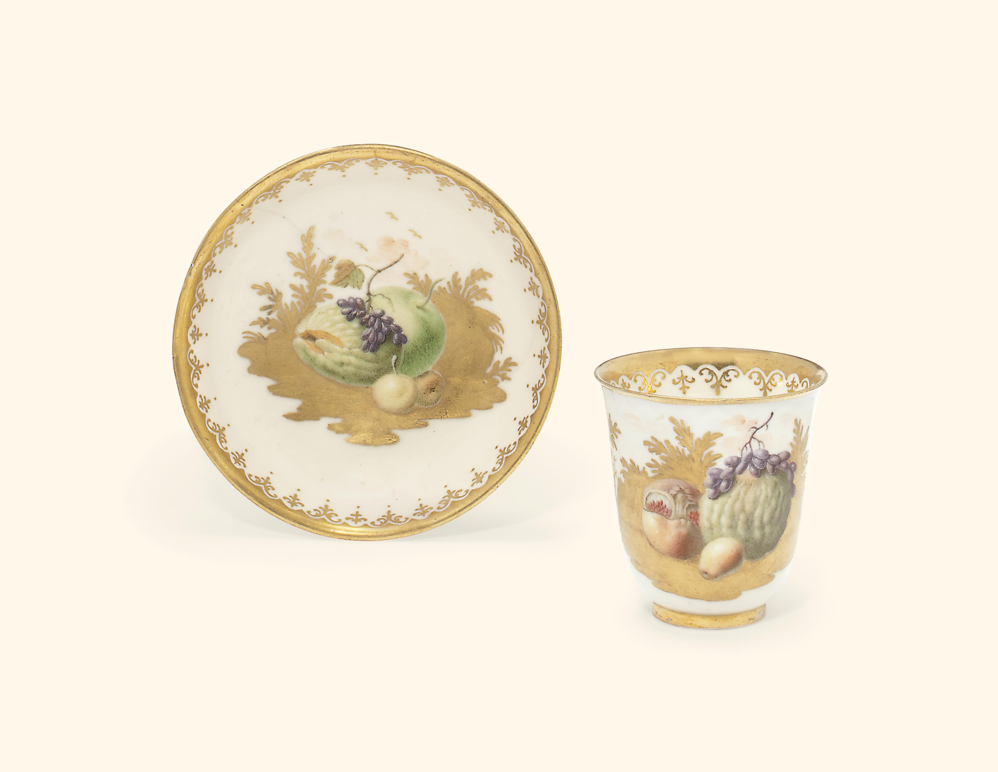 A CAPODIMONTE COFFEE OR CHOCOLATE-CUP AND SAUCER