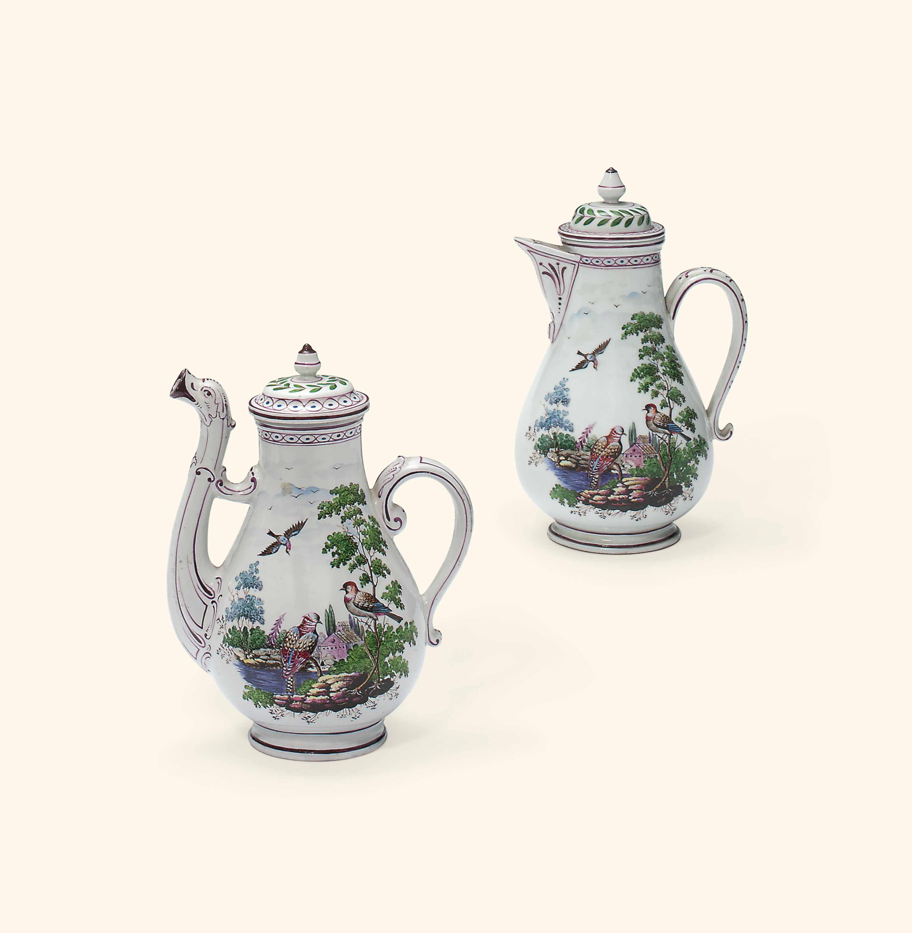 TWO DOCCIA COFFEE-POTS AND COVERS