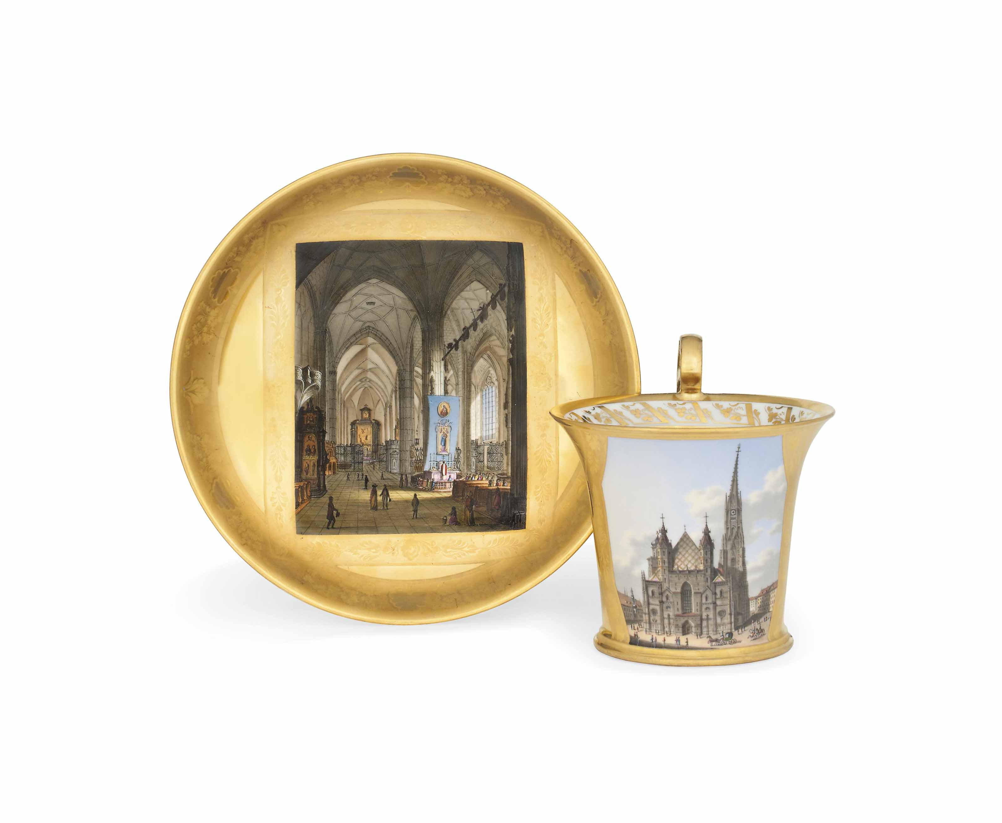 A VIENNA TOPOGRAPHICAL GOLD-GROUND CABINET-CUP AND SAUCER