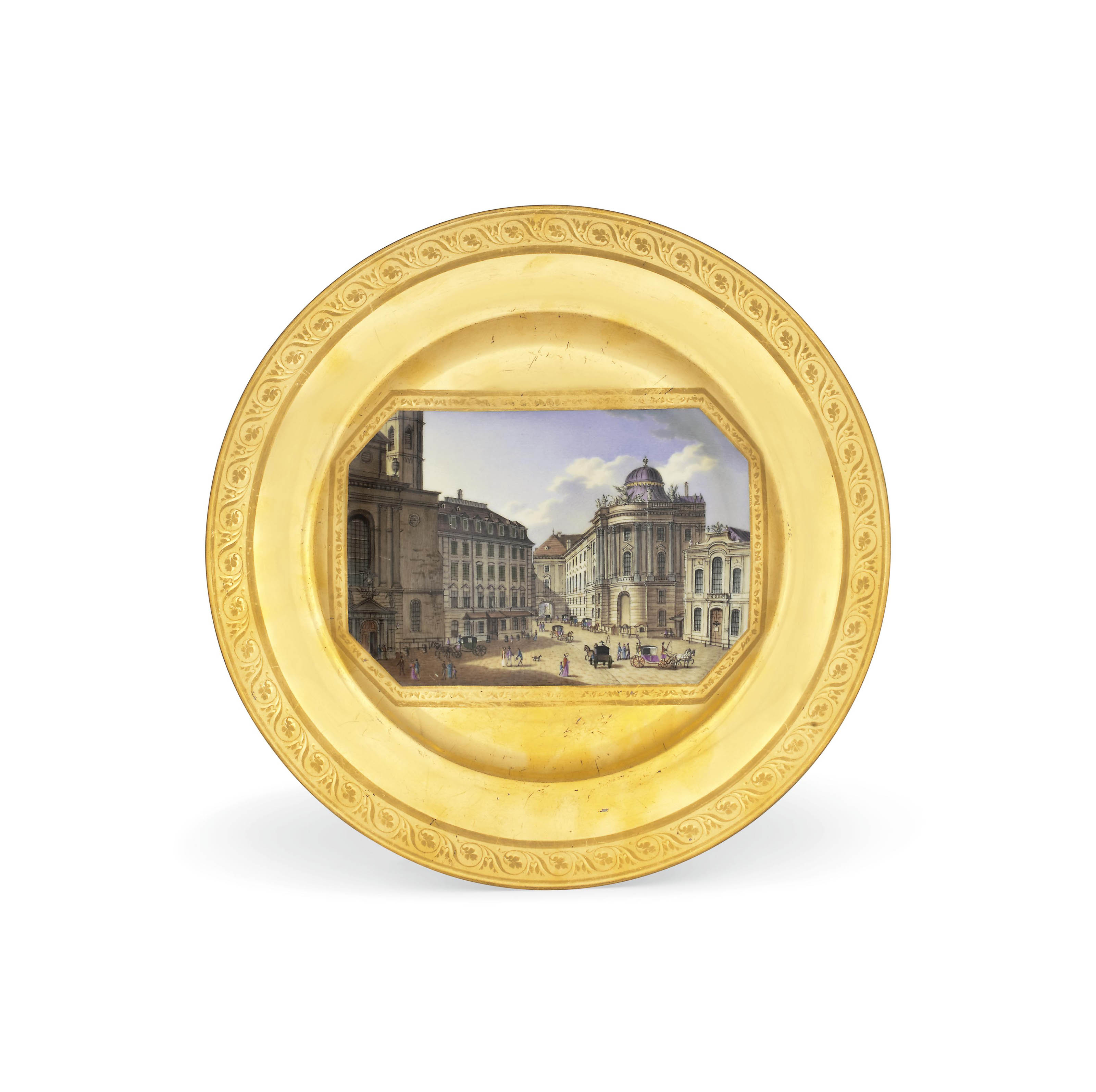 A VIENNA TOPOGRAPHICAL GOLD-GROUND CABINET-PLATE