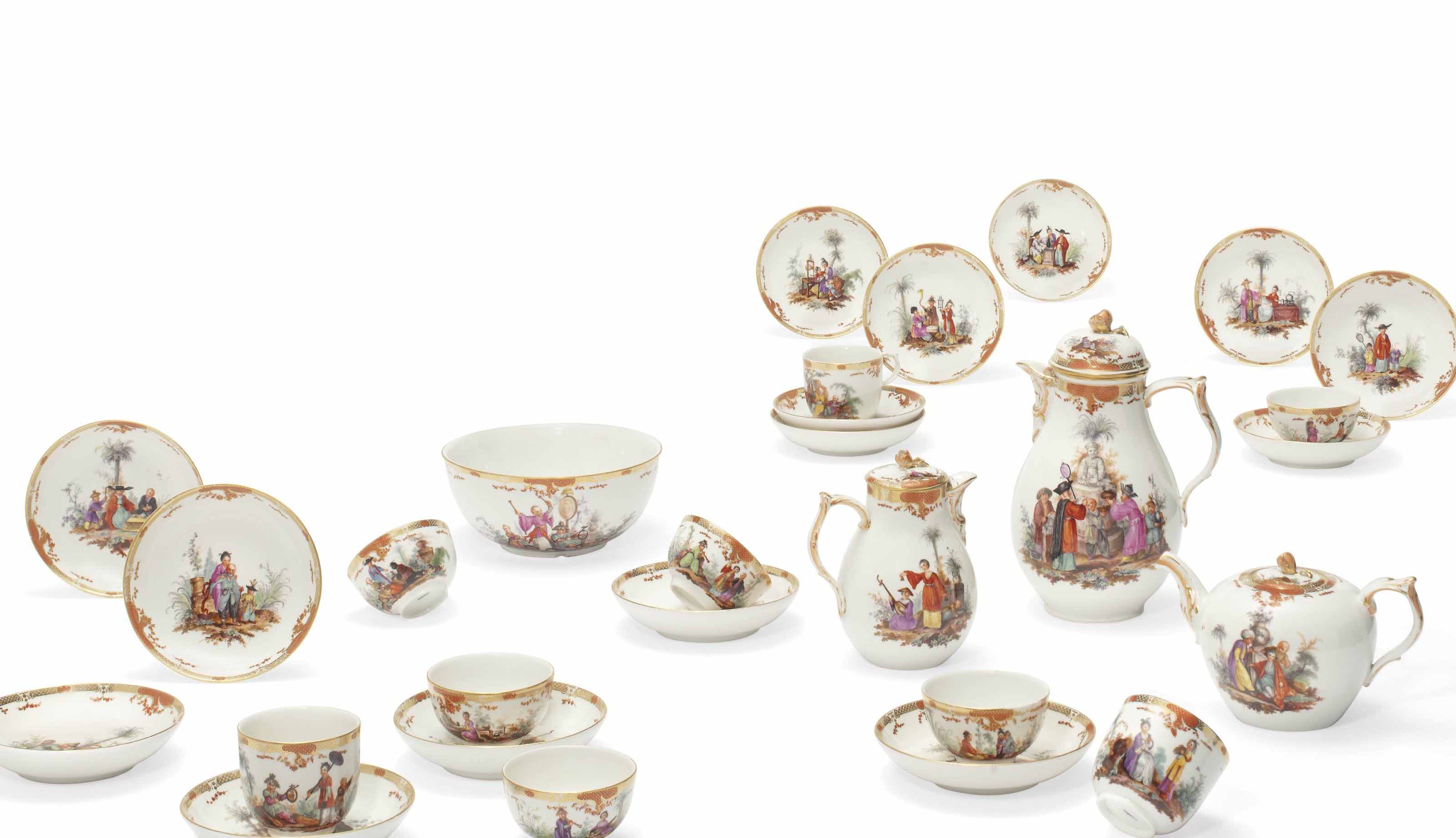 A BERLIN CHINOISERIE TEA AND COFFEE SERVICE