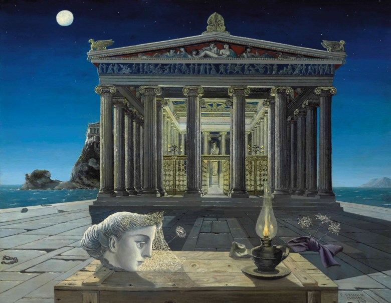 Paul Delvaux (1897-1994), Le Temple, 1949. 44¾ x 57½  in (113.7 x 146  cm). Sold for £1,609,250 on 20 June 2012  at Christie's in London © Foundation Paul Delvaux, Sint-Idesbald - SABAM BelgiumDACS 2018        p.p1 {margin 0.0px 0.0px 0.0px 0.0px; font 14.0px Calibri}