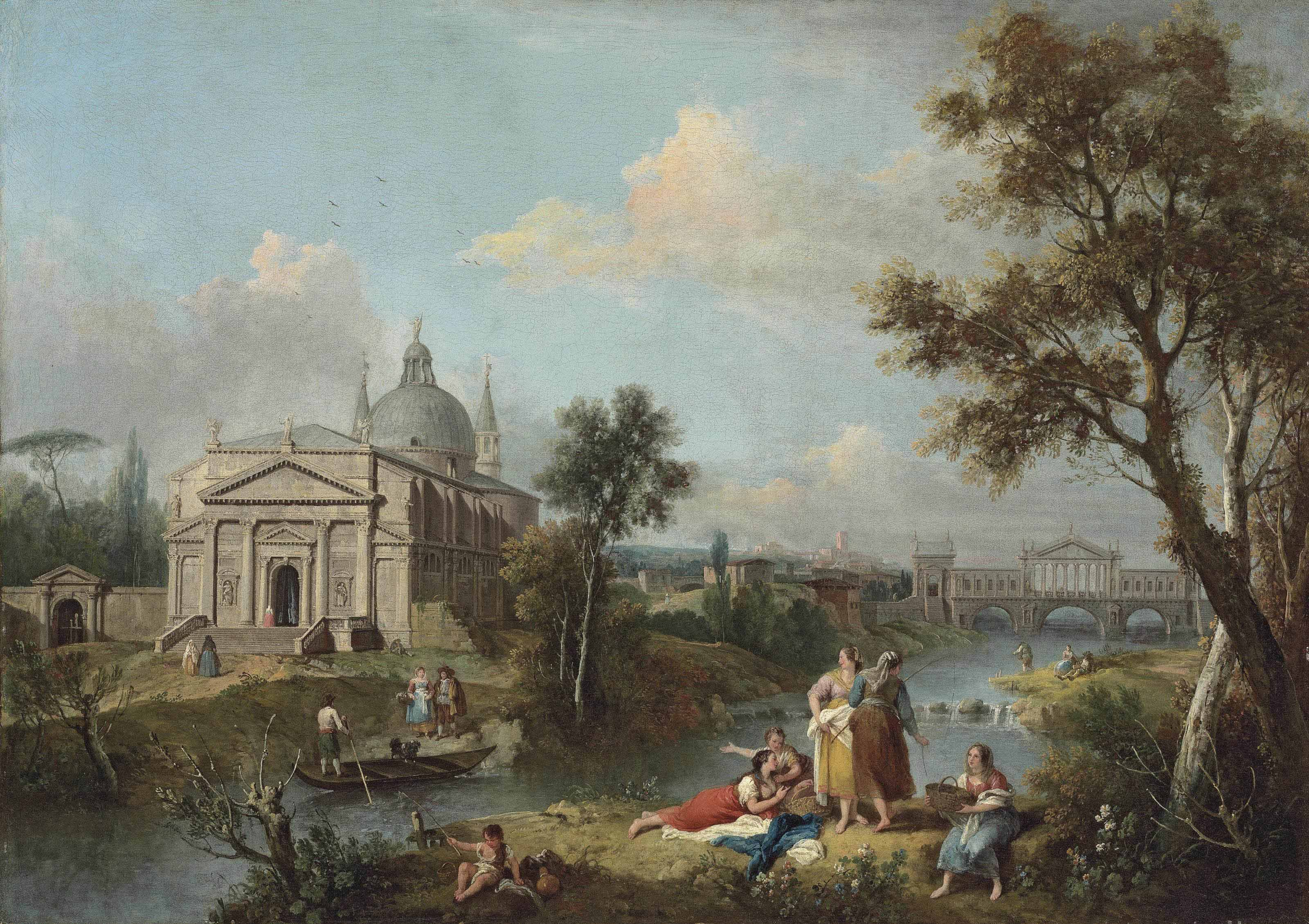 An Italianate river landscape with women fishing and resting on the bank, with a capriccio view of the Redentore and the Rialto Bridge as designed by Andrea Palladio beyond