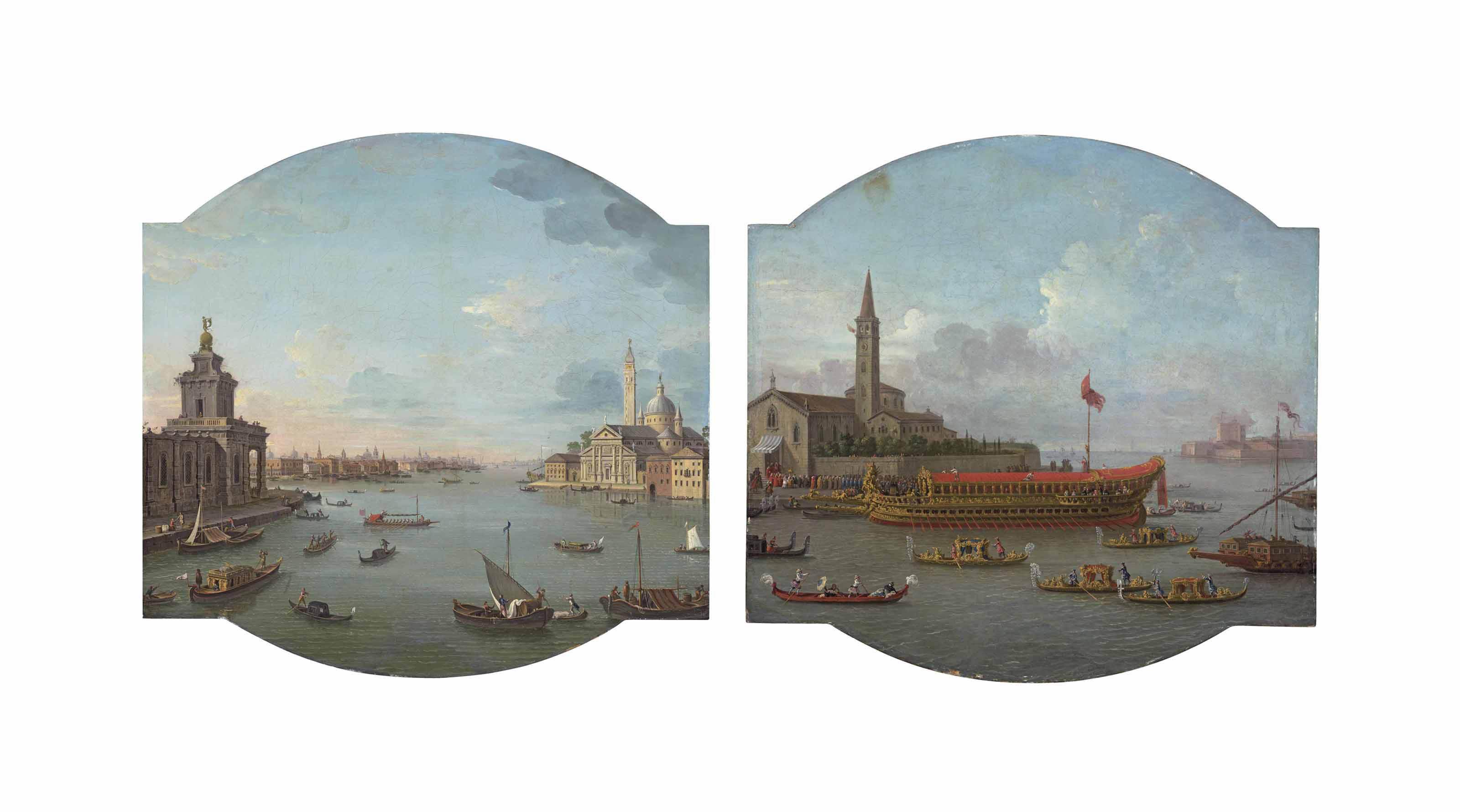 A View of San Giorgio Maggiore, Venice, with the Punta della Dogana in the foreground; and A view of the Bucintoro anchored in front of San Nicolò al Lido, Venice, for the ceremony of the 'Sposalizio del Mare'