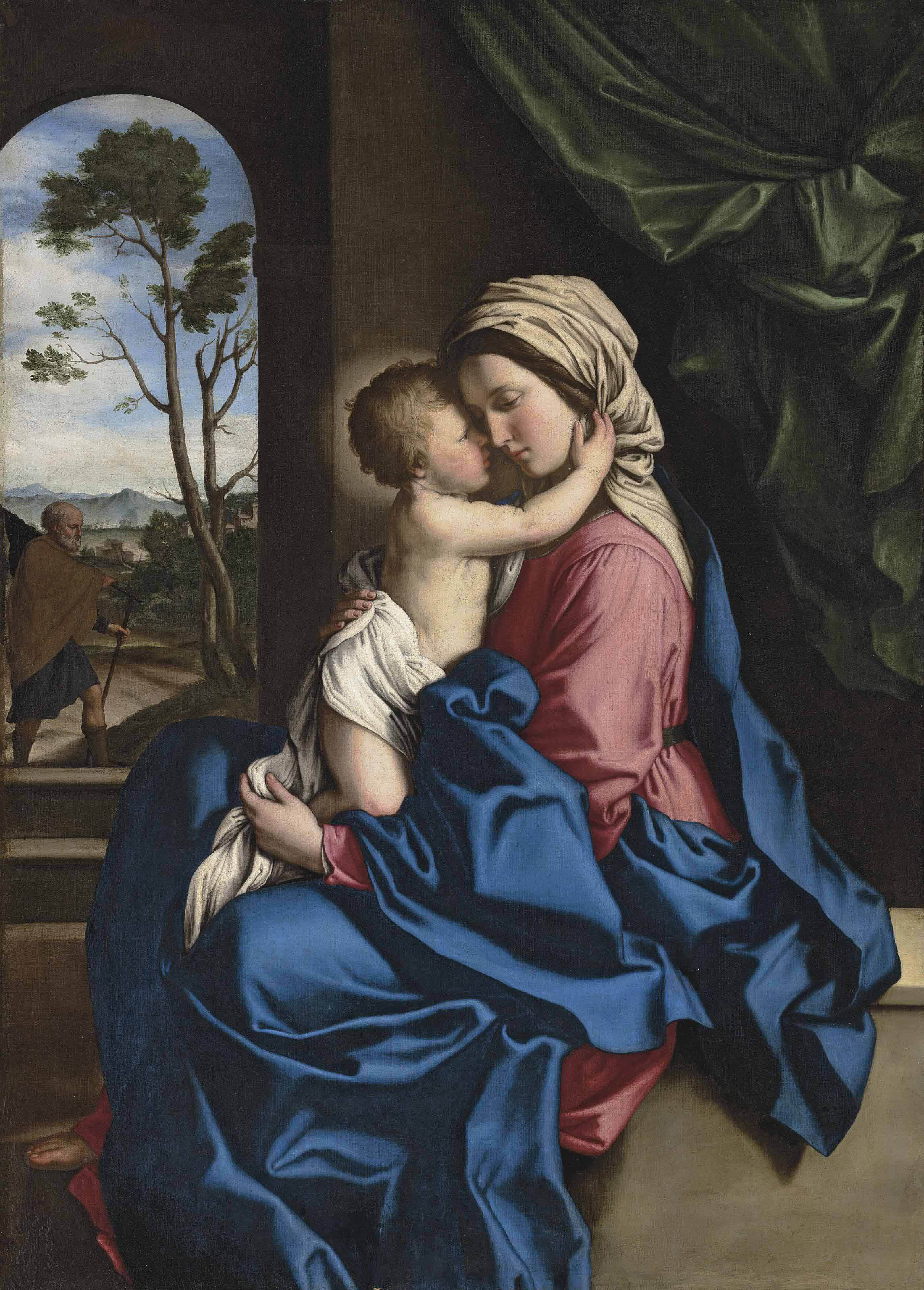 The Madonna and Child embracing in an interior, a landscape with Saint Joseph beyond