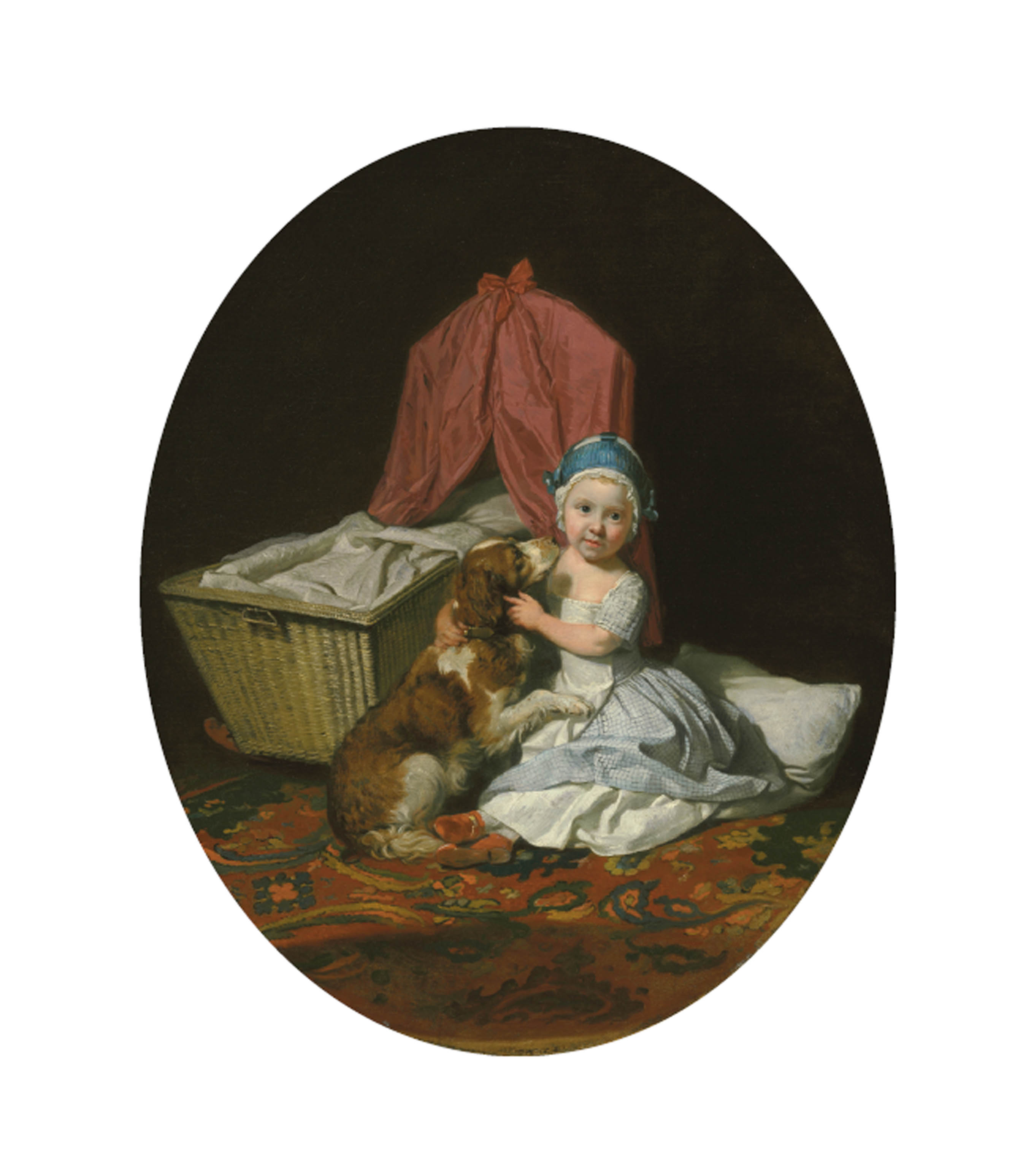 Portrait of Hester Maria Thrale, 'Queeney' (1764-1857), as a child, full-length, in a blue checked dress and white apron, and a blue pudding hat, seated on a turkey rug, with a pet spaniel, Belle, by a cradle