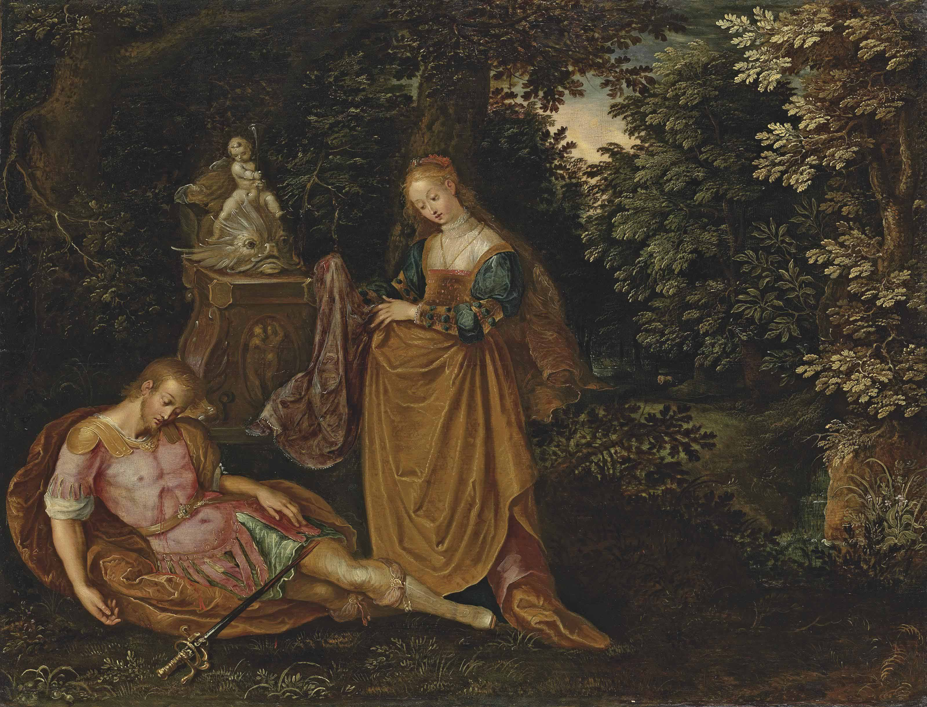 Pyramus and Thisbe in a wooded landscape