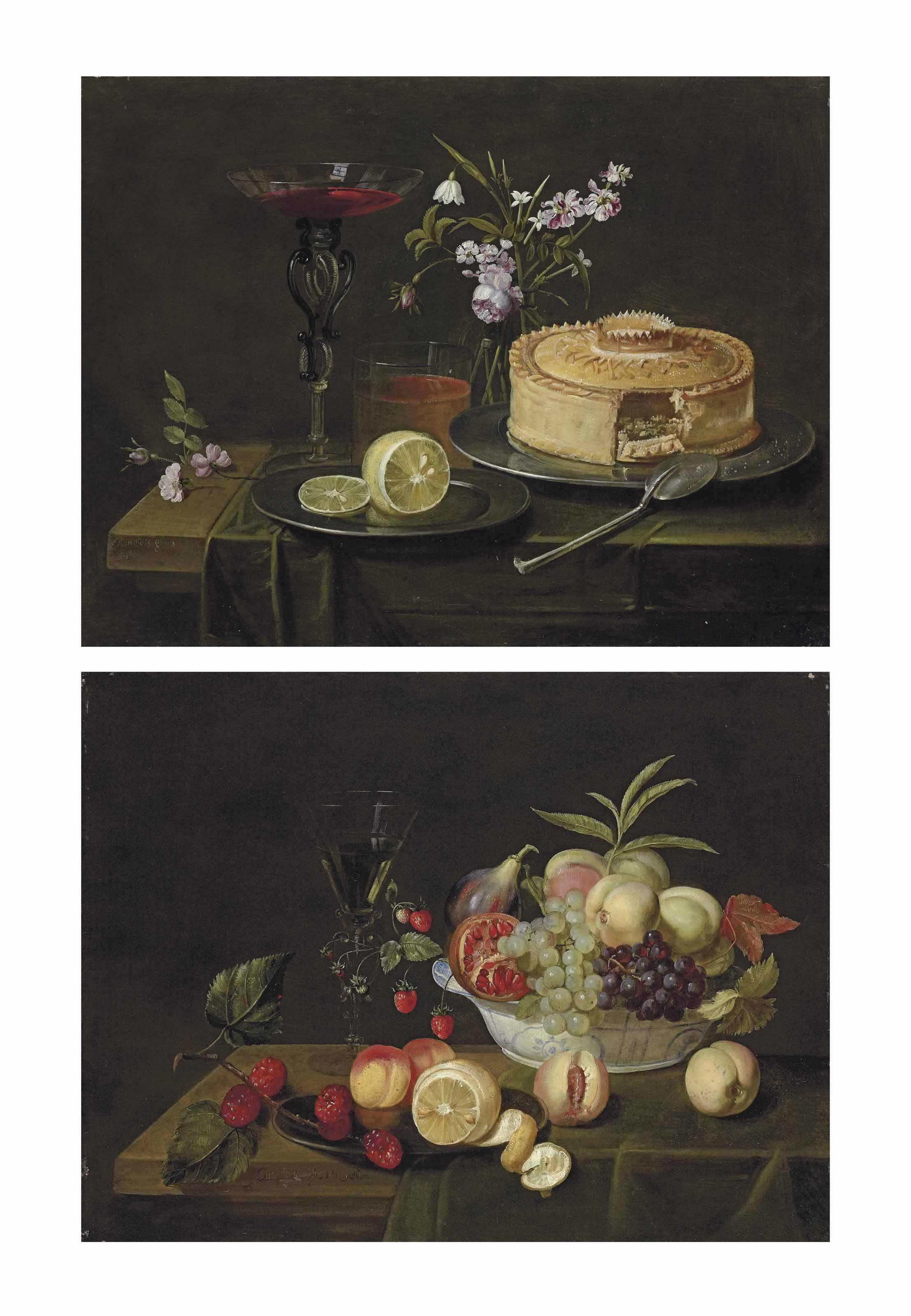 Grapes, peaches, a fig and a passion fruit in a Wan-Li porcelain bowl, a half-peeled lemon on a pewter platter, and a façon-de-Venise wine glass, on a partly-draped wooden table; and A pie and a cut lemon on pewter platters, a façon-de-Venise wine glass and flowers in a glass vase, on a partly-draped table