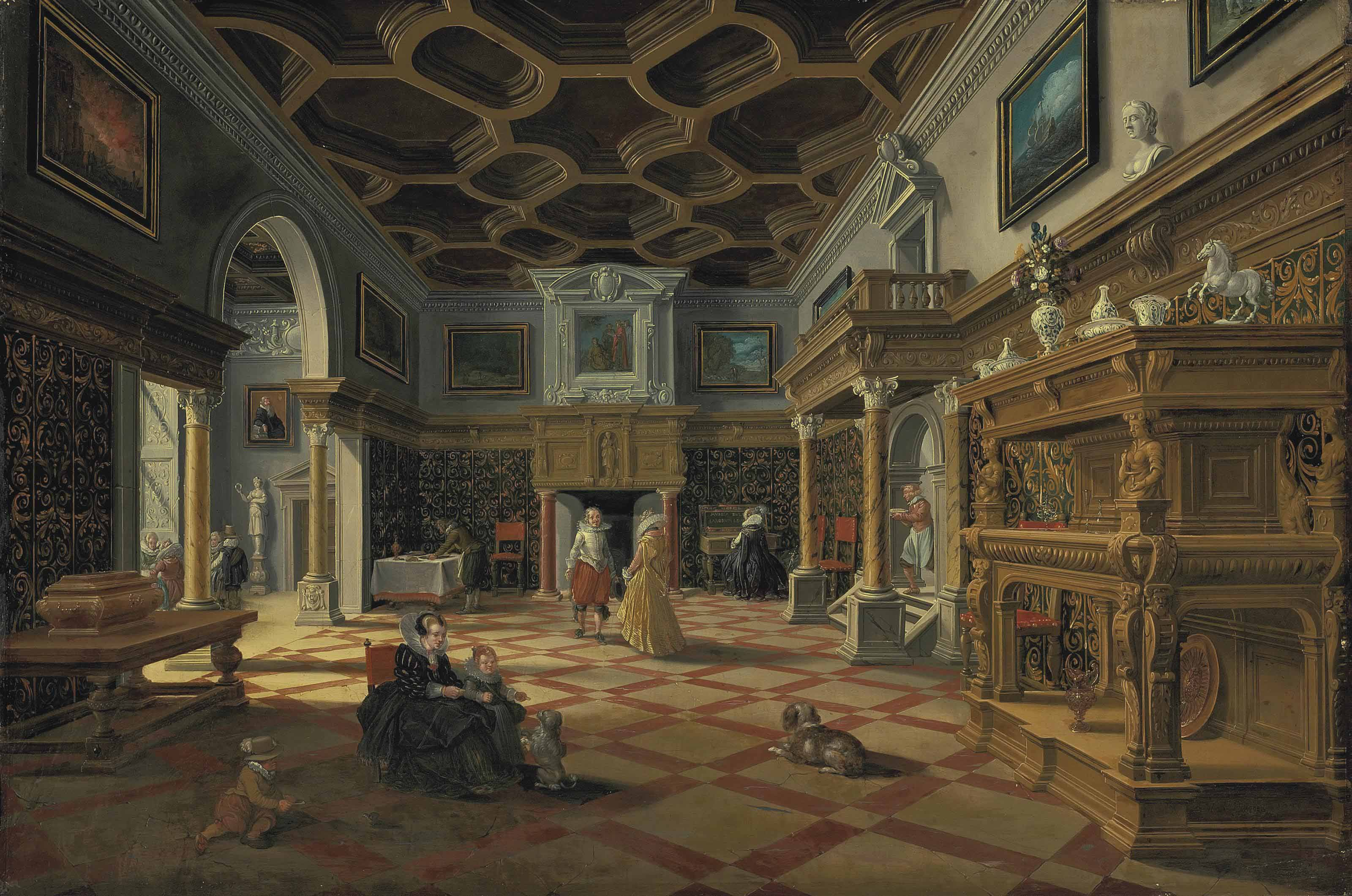 An interior with elegant figures conversing, a child playing with a dog and a woman playing a harpsichord