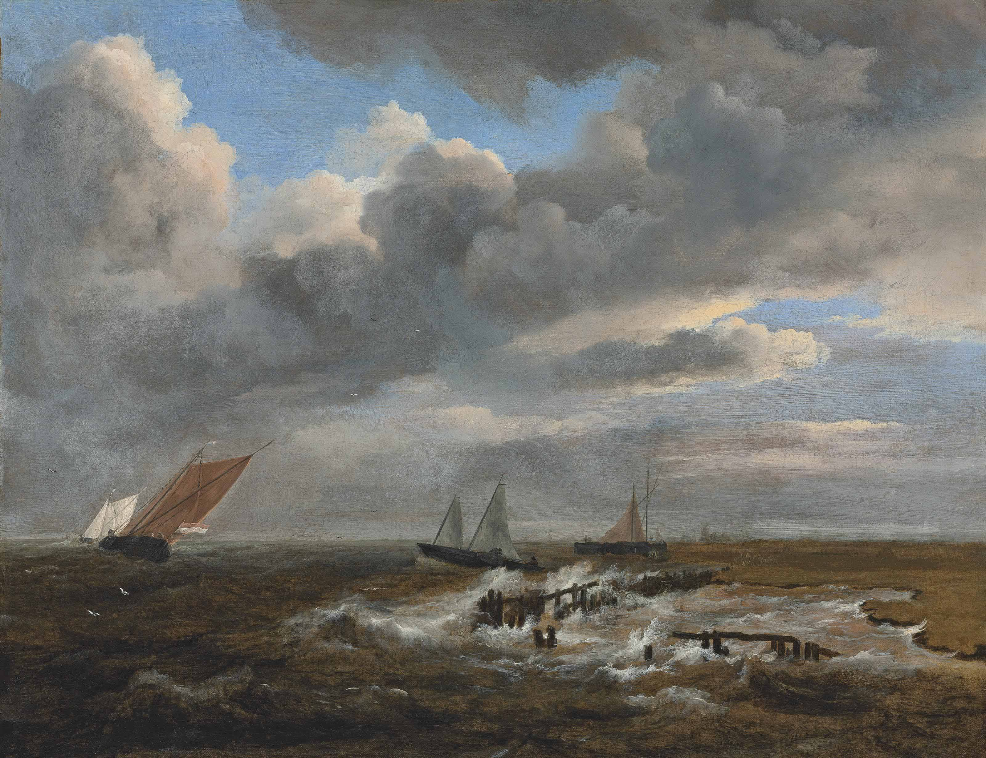 An estuary with smalschips and a galjoot in choppy waters, a village with a church beyond