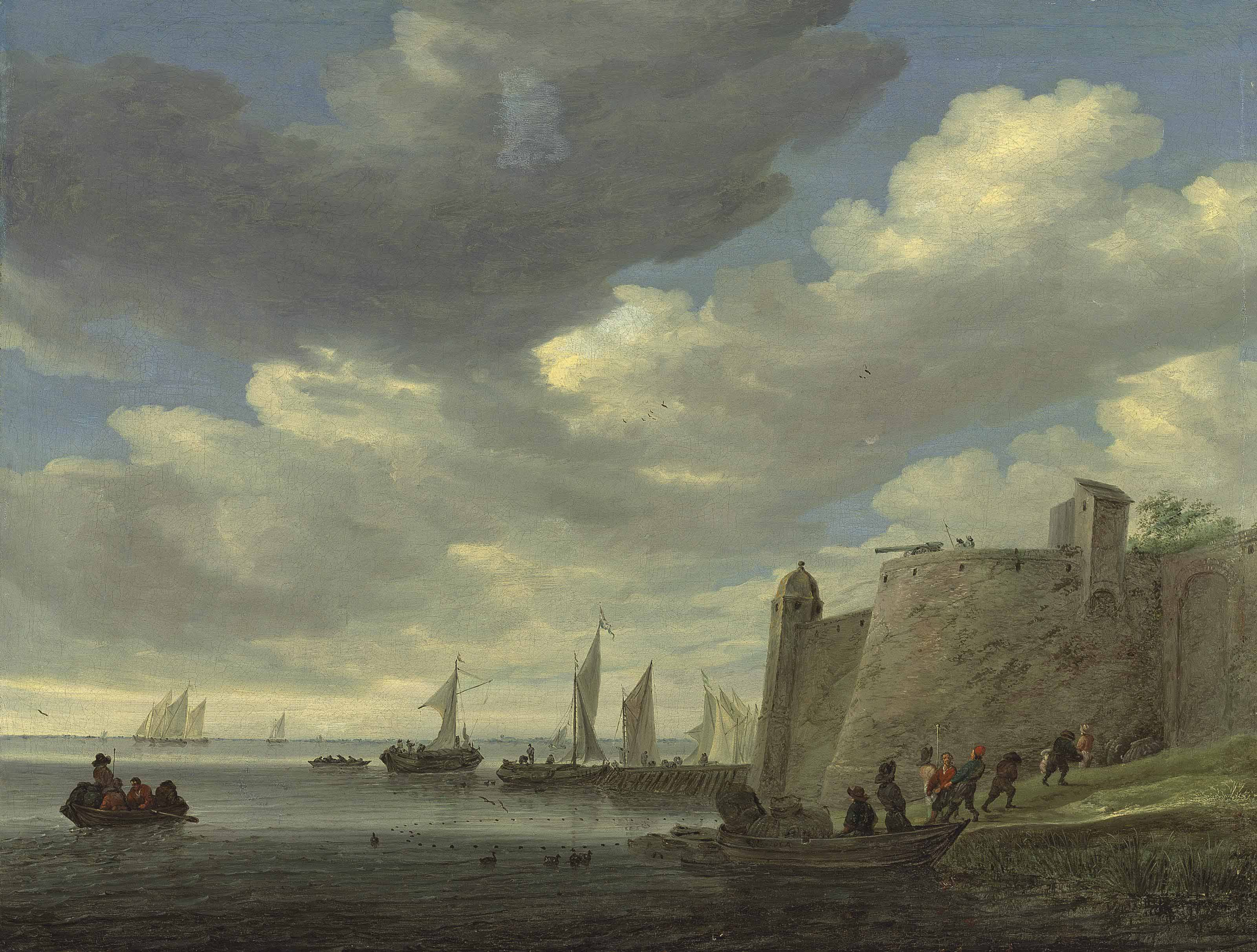 A river estuary with figures pulling in their nets by a fort, wijdships at a footbridge and other vessels beyond