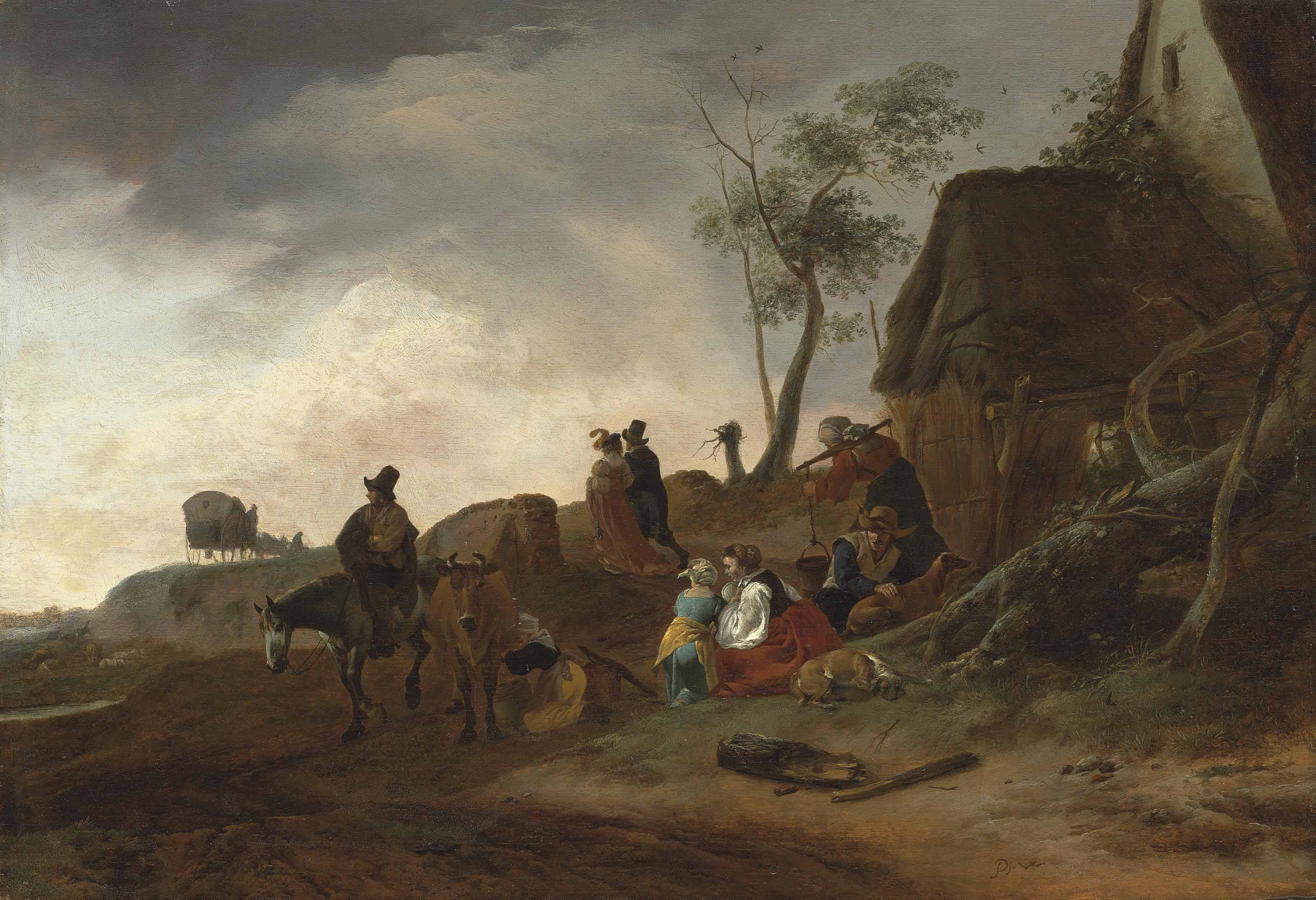 A wooded landscape with a traveller on horseback, a milkmaid and peasants by a cottage, an elegant couple and a carriage beyond