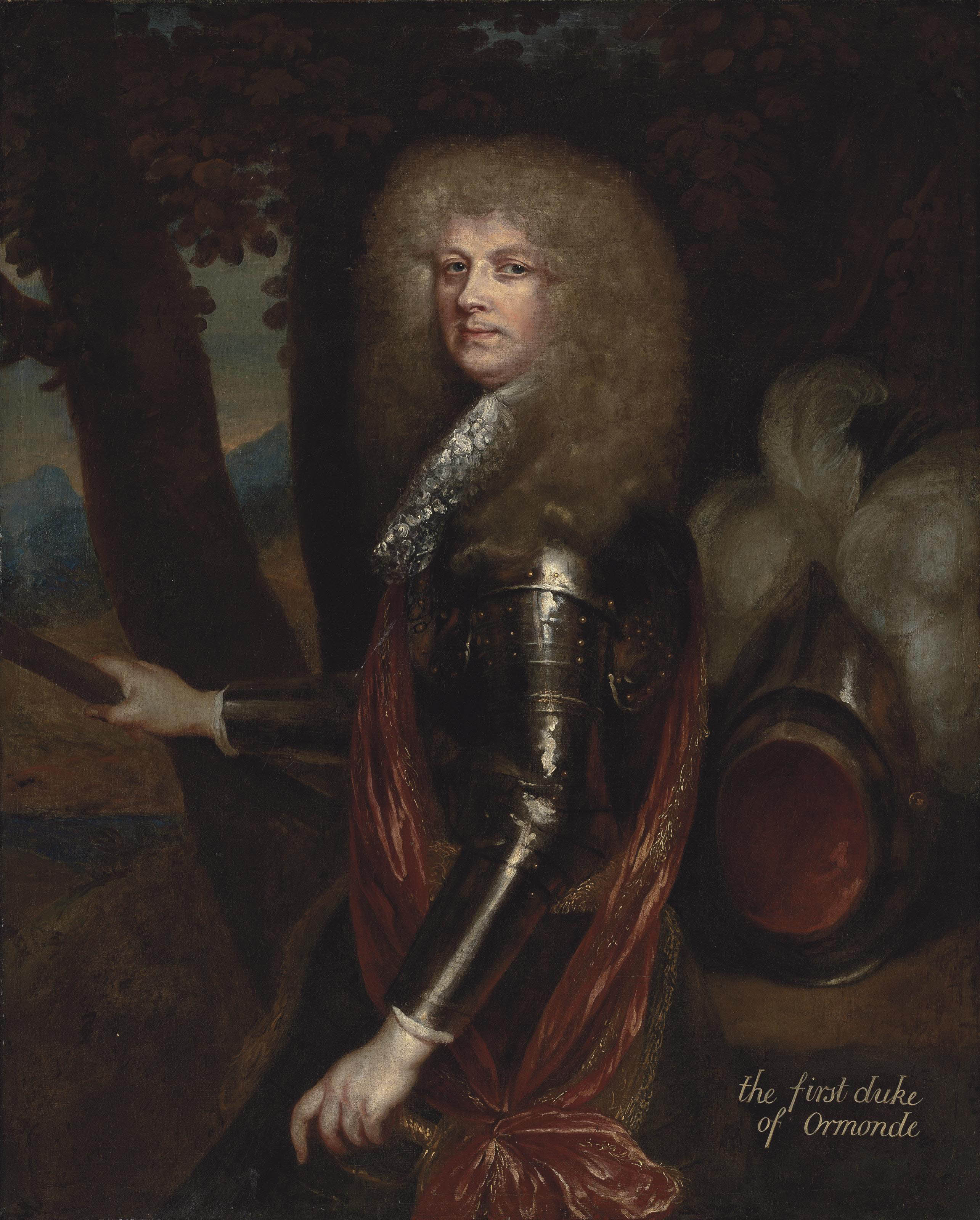 Portrait of James Butler, 1st Duke of Ormonde (1610-1688), half-length, in armour with a red sash, holding a baton, with a plumed helmet, in a wooded landscape