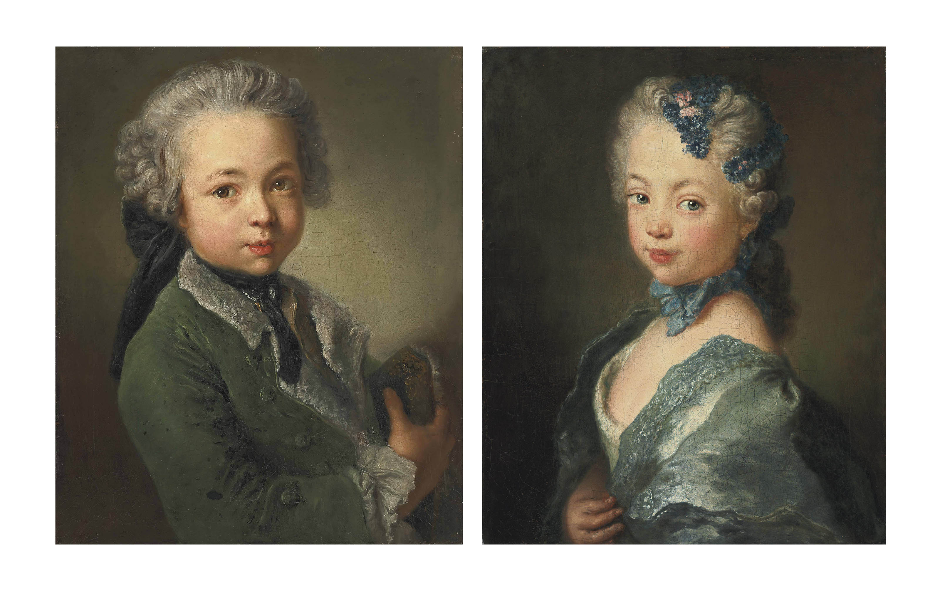 Portrait of the artist's grandson, bust-length, in a fur-lined green coat, holding a tricorne; and Portrait of the artist's granddaughter, bust-length, in a white dress with a blue mantle, a blue ribbon and a flowered headdress
