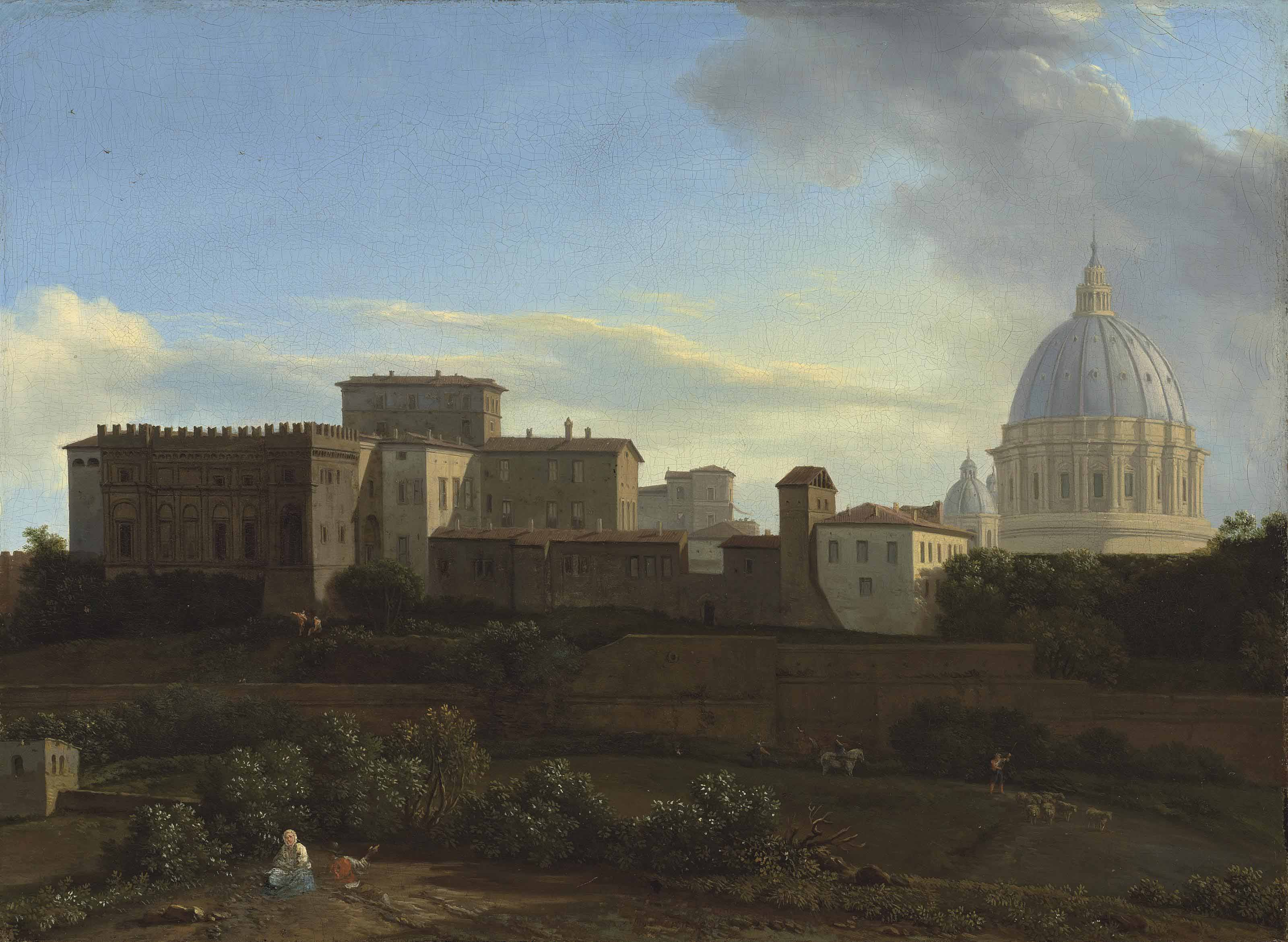 A view of the Vatican, Rome, with the Sistine Chapel and St. Peter's Basilica, from the Janiculum