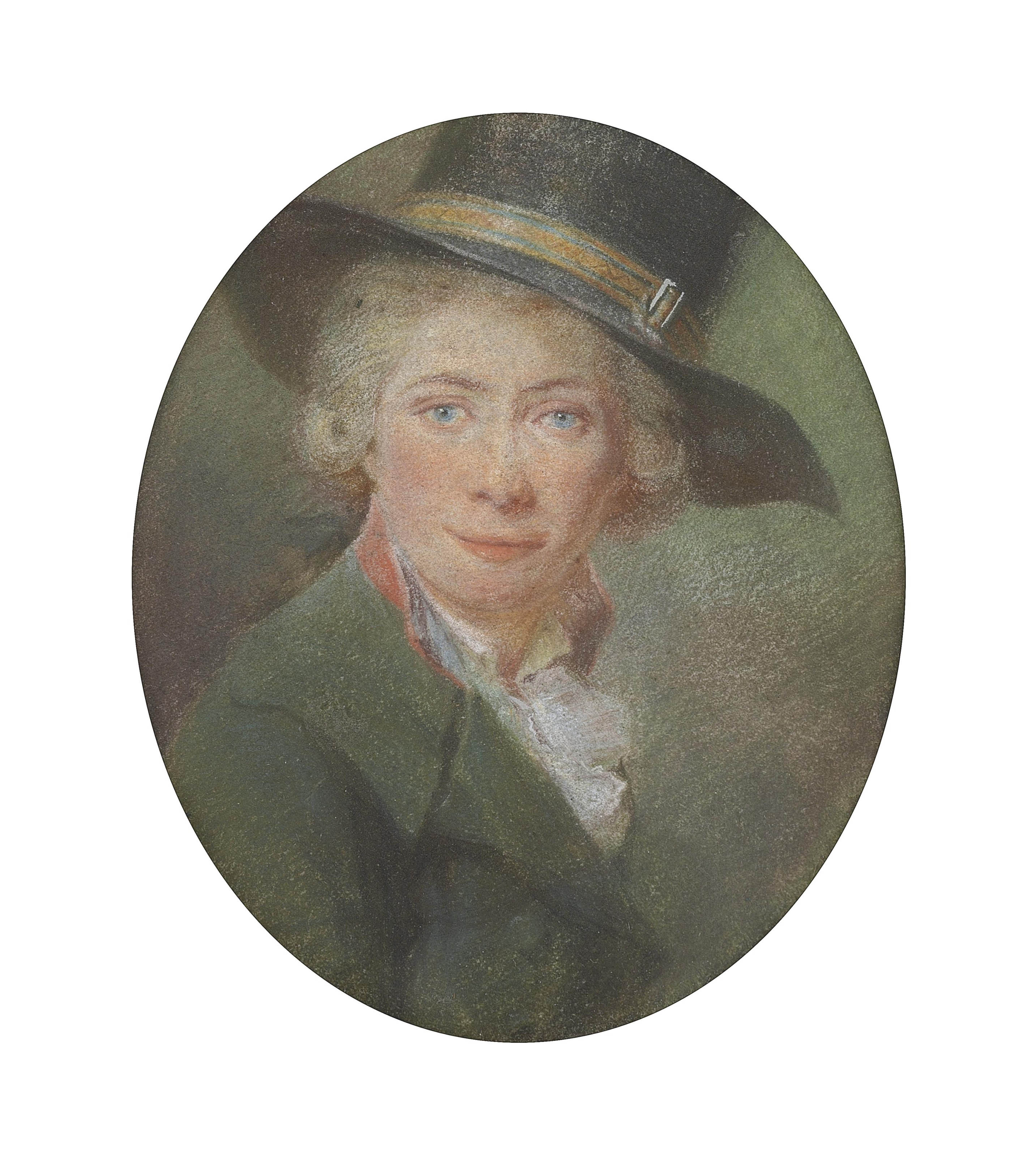 Self portrait, bust-length, in a black hat and green coat