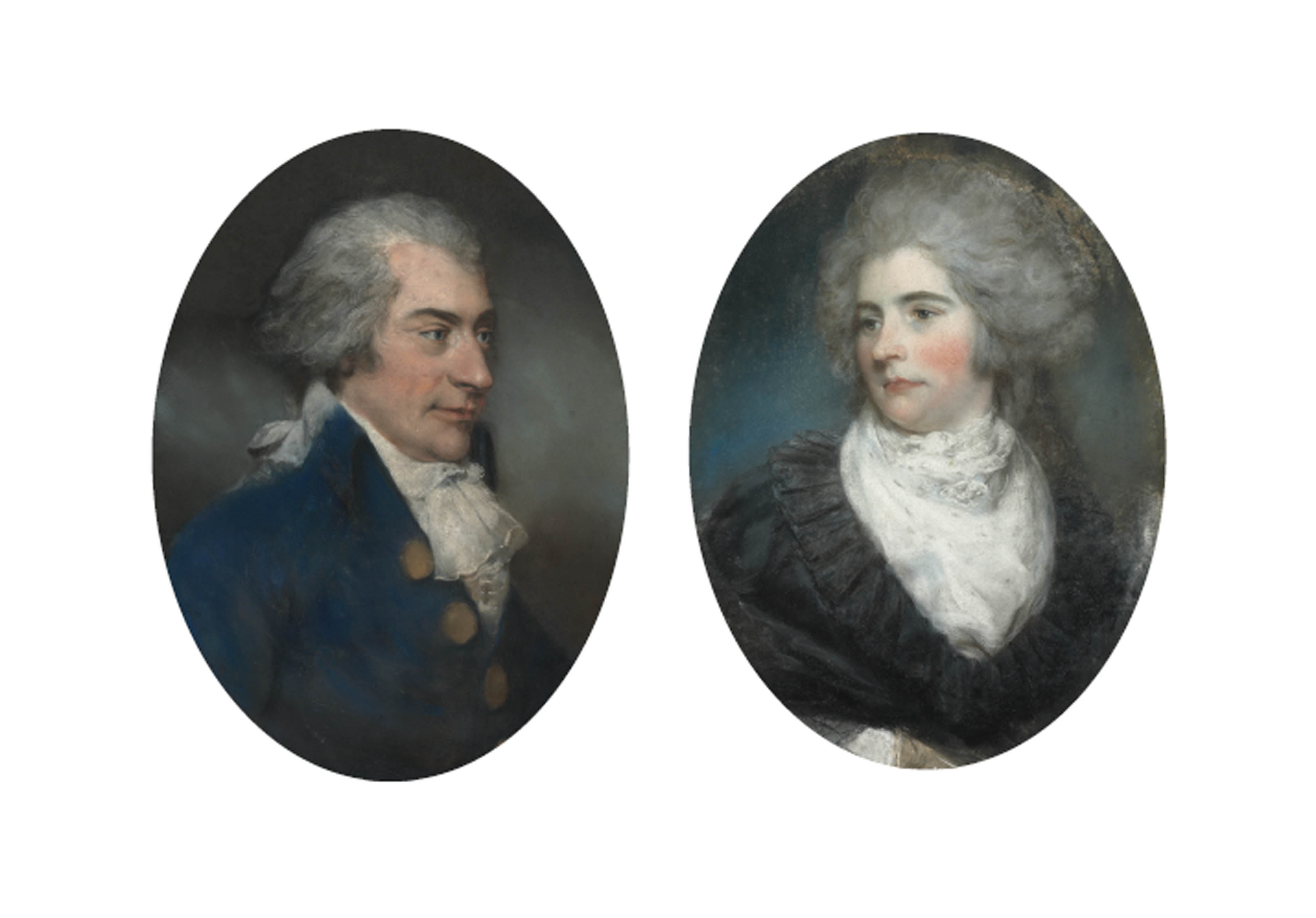 Portrait of Sir John Frederick, 5th Bt. (1750-1825), of Burwood Park, Walton-on-Thames, in a blue coat with powdered hair; and Portrait of Lady Frederick, née Mary Garth (d. 1794), in a white muslin dress with black lace cloak