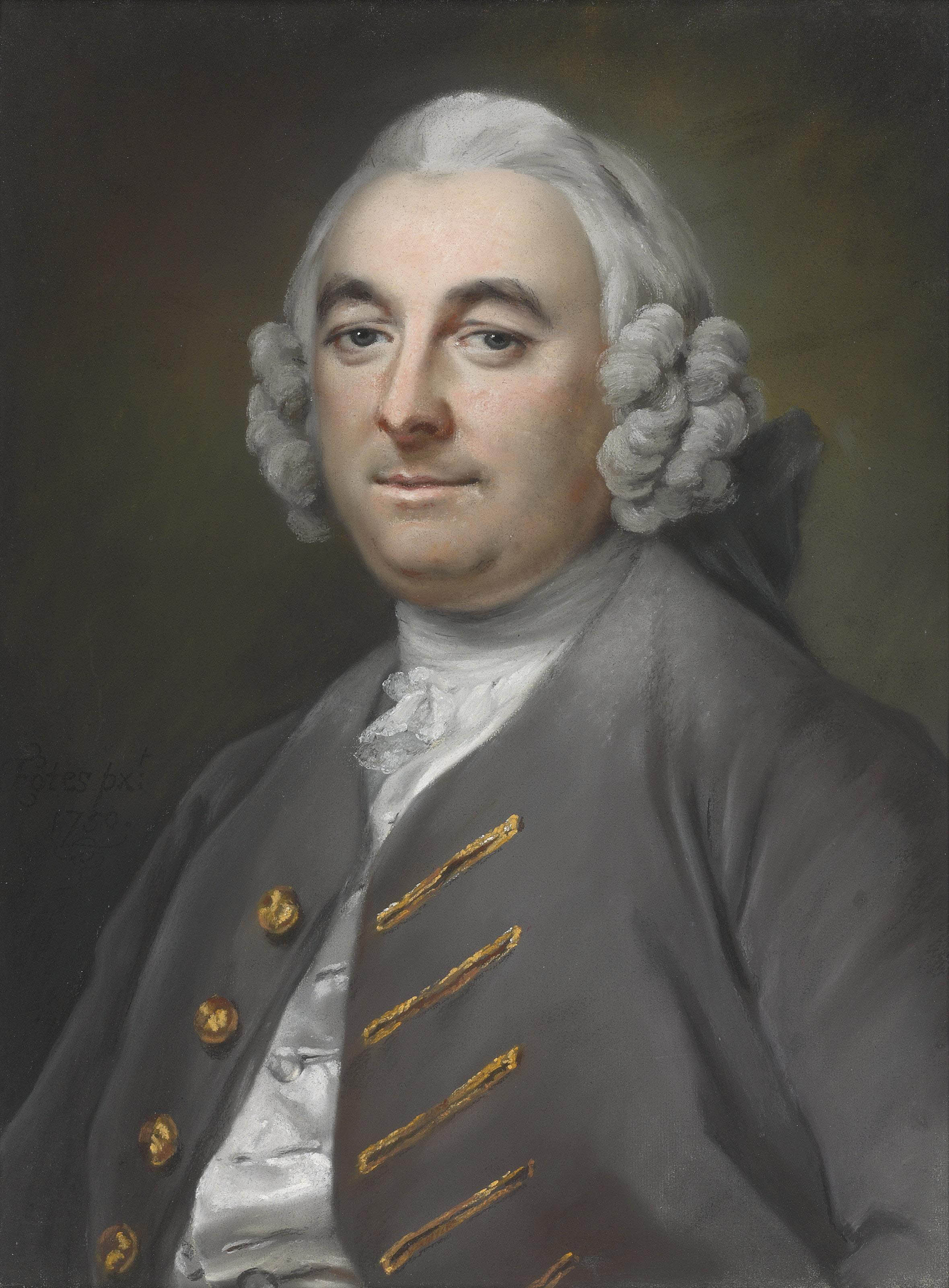 Portrait of a gentleman, seated, half-length, in a grey coat with gold-stitched buttonholes