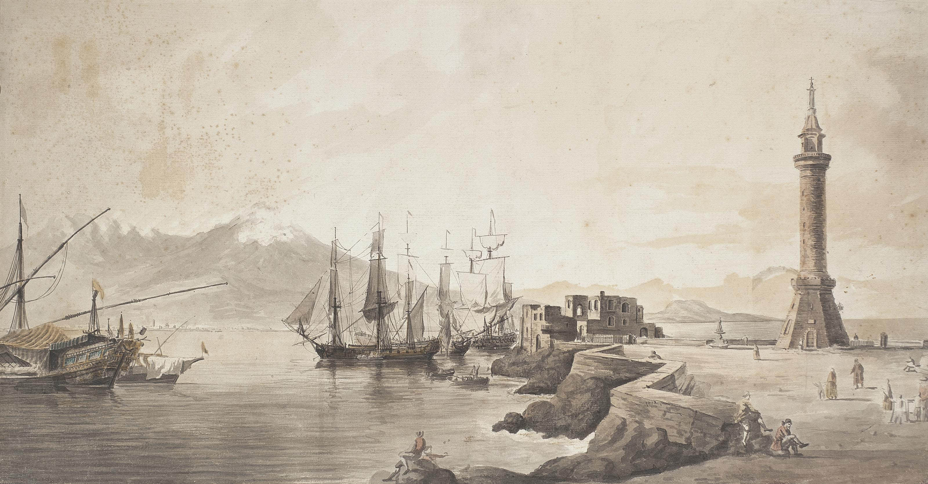 Shipping in the Bay of Naples with the old Molo, Vesuvius beyond