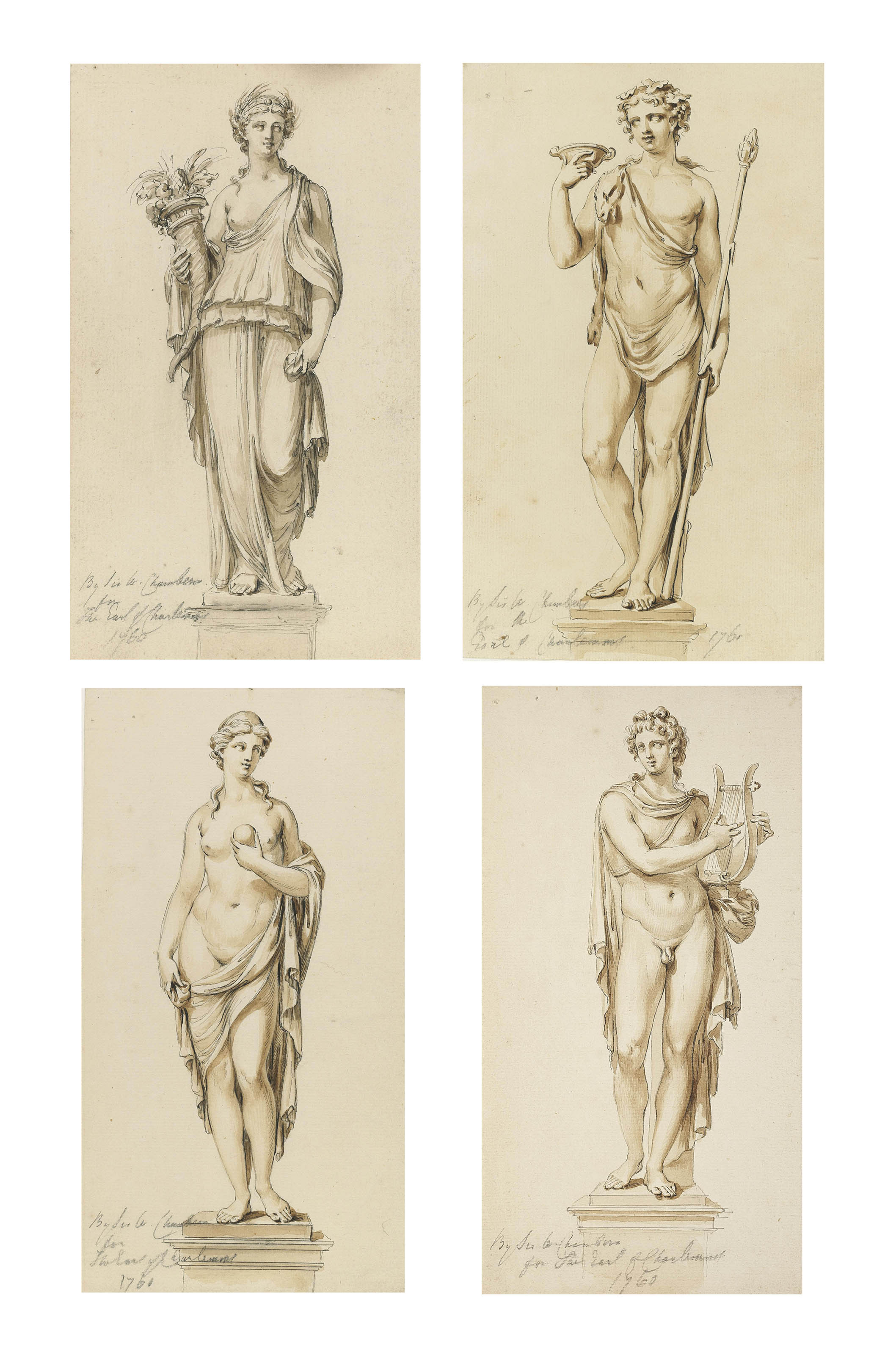 Studies for statues of pedestals of Apollo, Venus, Bacchus and Ceres, for the Marino Casino, Clontarf, Co. Dublin