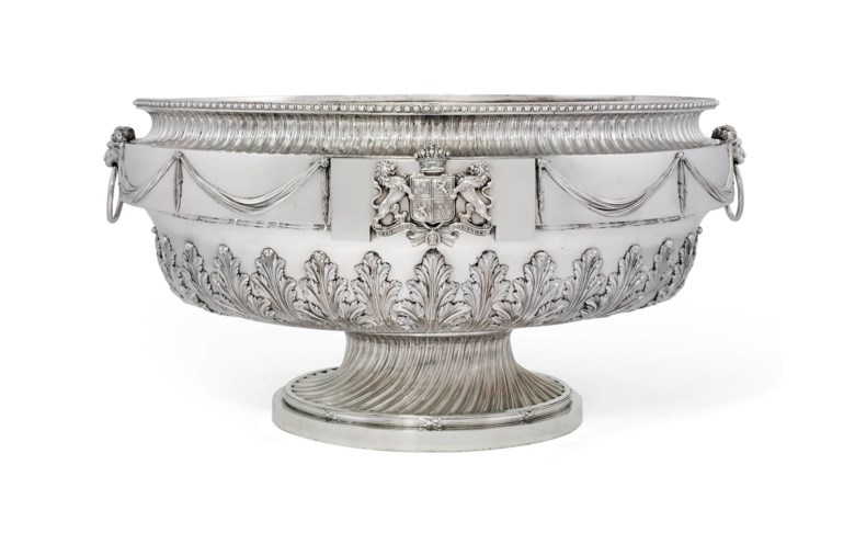 The Rosebery wine cistern; a George III silver wine cistern, Mark of Daniel Smith and Robert Sharp, London, 1773. 34  in (86  cm) wide. Sold for £457,250 on 5 July 2012  at Christie's in London