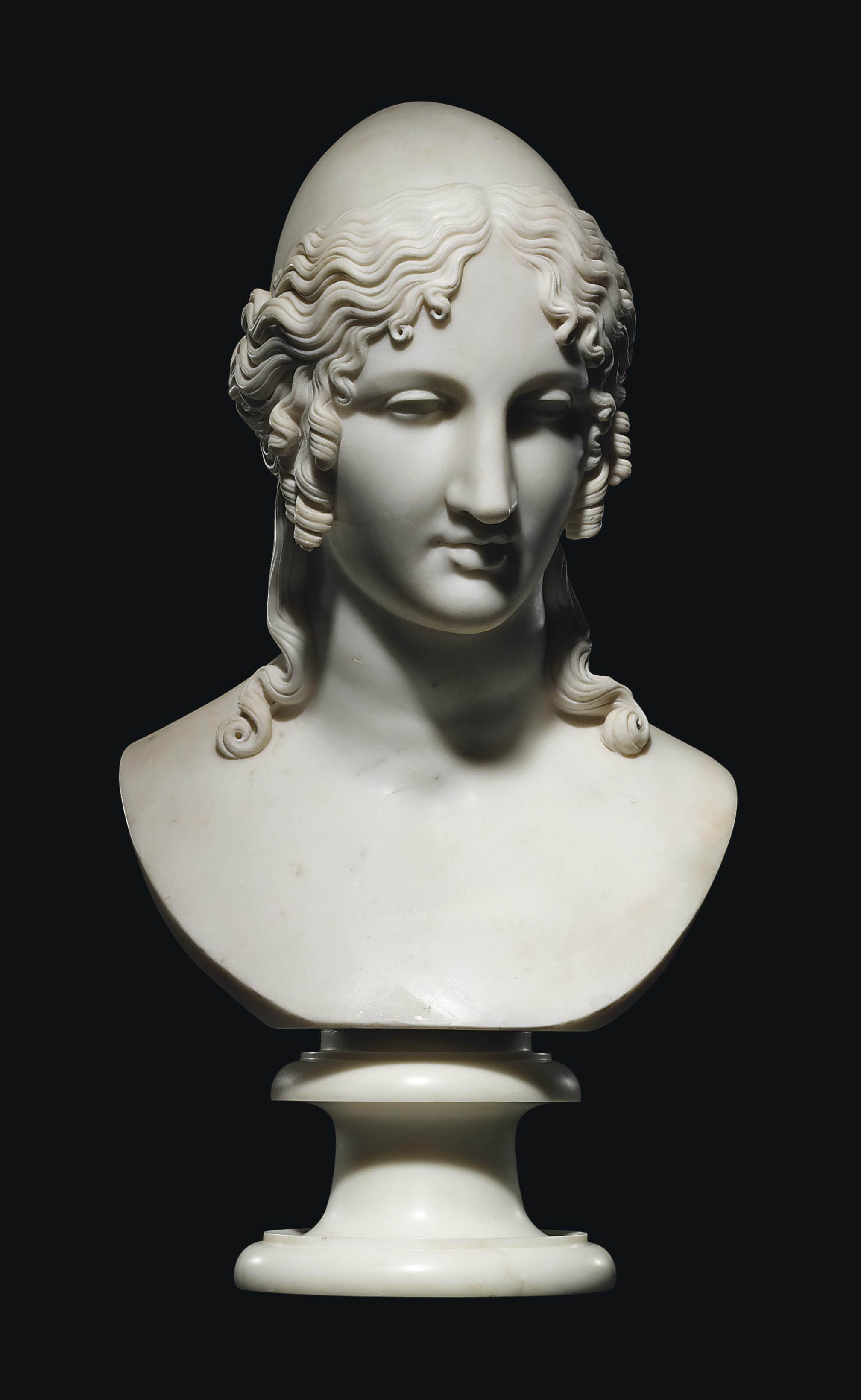 A CARVED MARBLE BUST OF HELEN