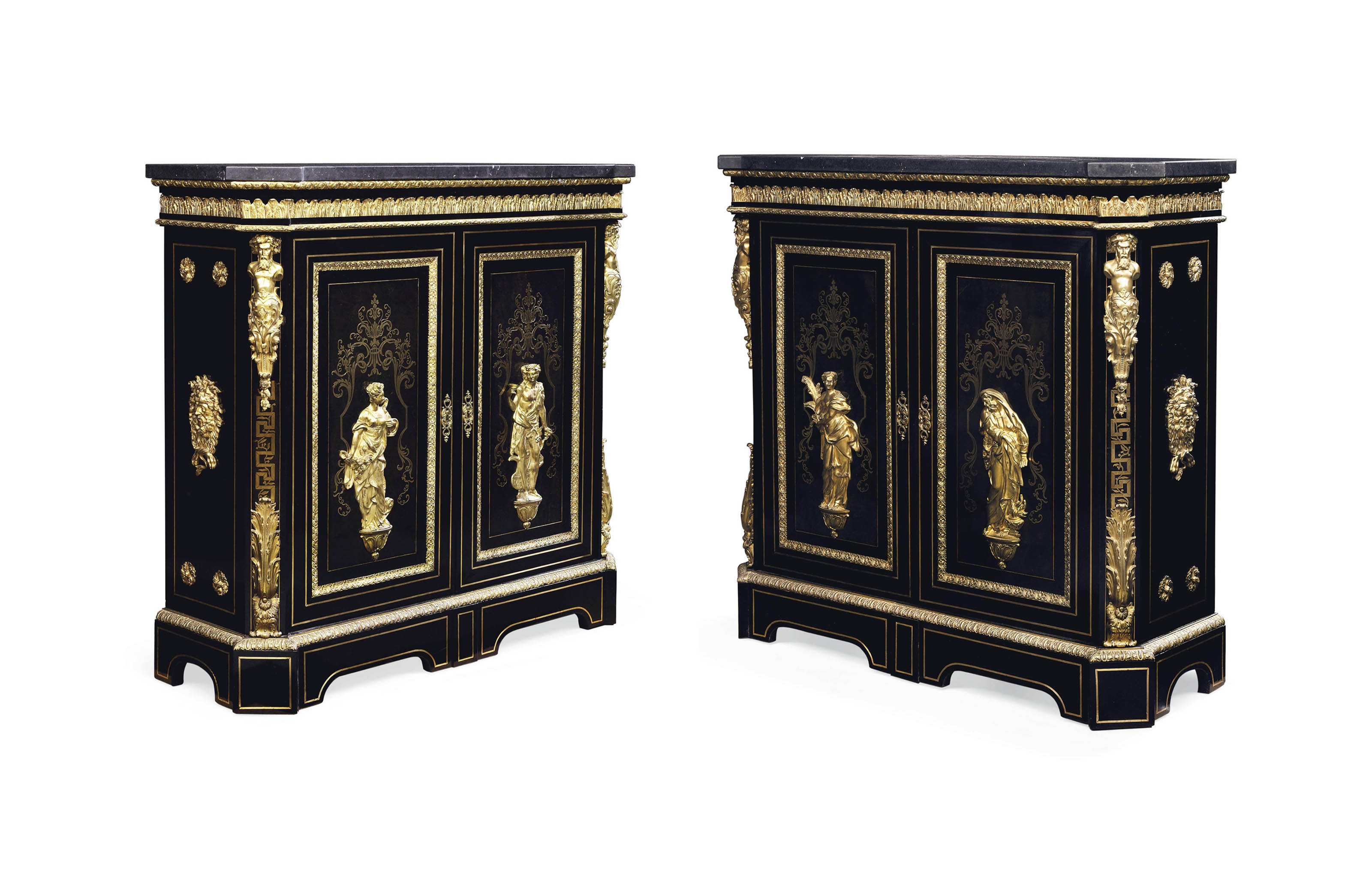 A PAIR OF NAPOLEON III ORMOLU-MOUNTED AND CUT BRASS-INLAID TORTOISESHELL, EBONY AND EBONISED MEUBLES D'APPUI